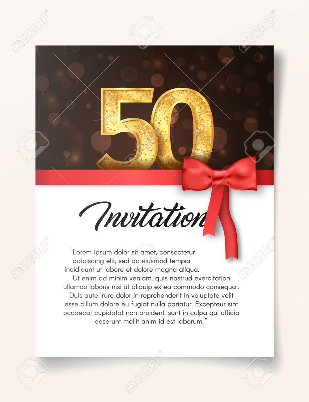 Plantilla De Tarjeta De Invitación Para El Día Del Quincuagésimo Aniversario Con Ilustración De Vector De Texto Abstracto A 50 Años Invitamos A La