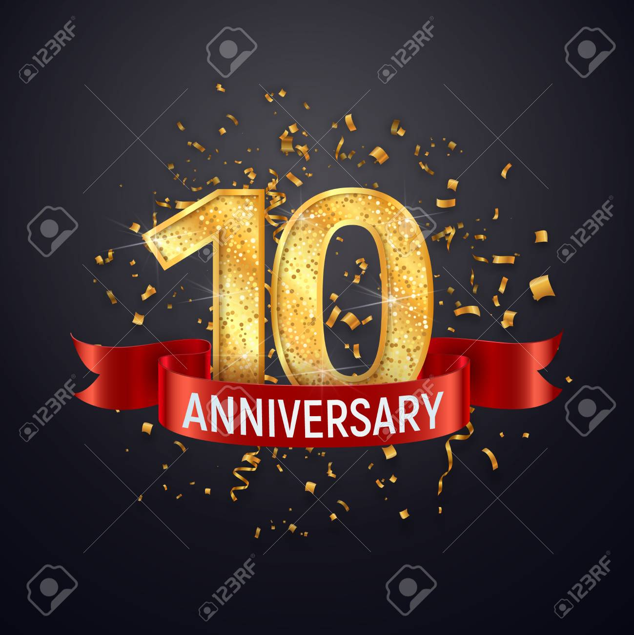 10 years anniversary logo template on dark background tenth
