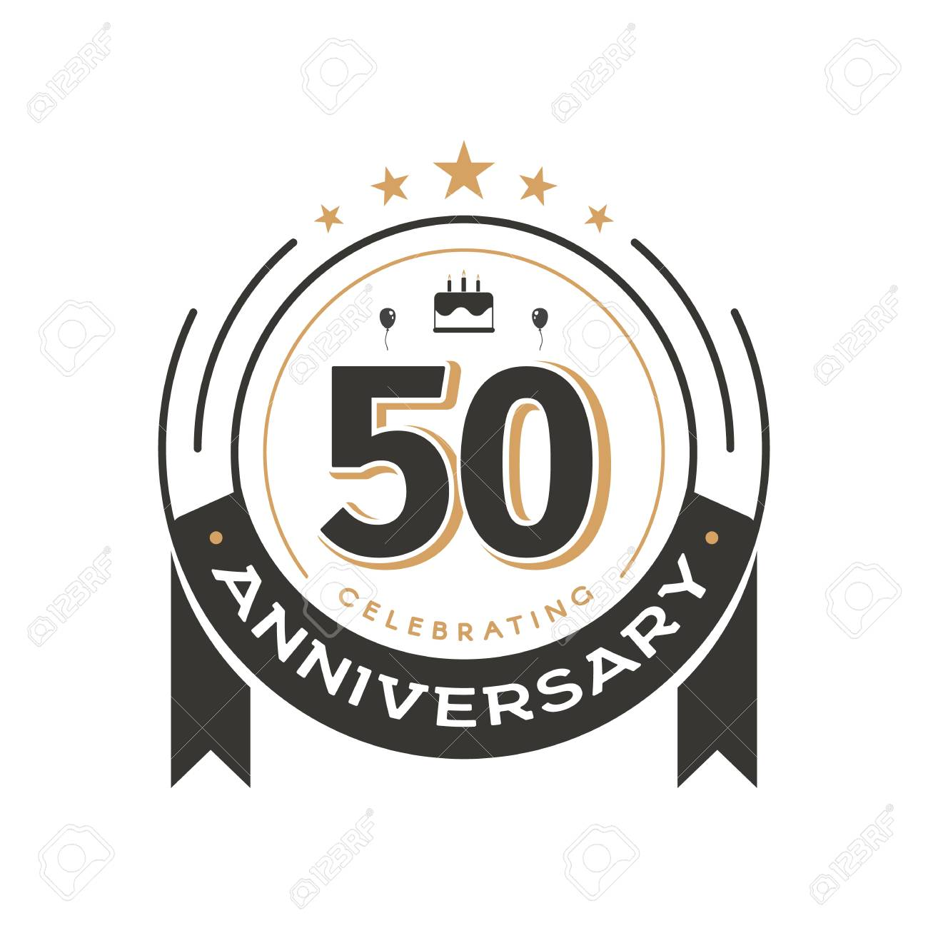 Birtday vintage logo template to 50th anniversary circle retro isolated vector emblem. Fifty years old badge on white background - 114661286