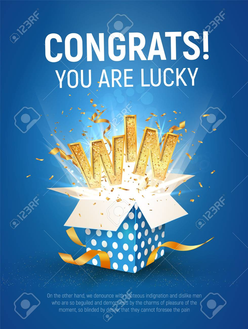 WIN gold text. Open textured blue box with confetti explosion inside and golden winning word on blue background vertical illustration. - 116035936