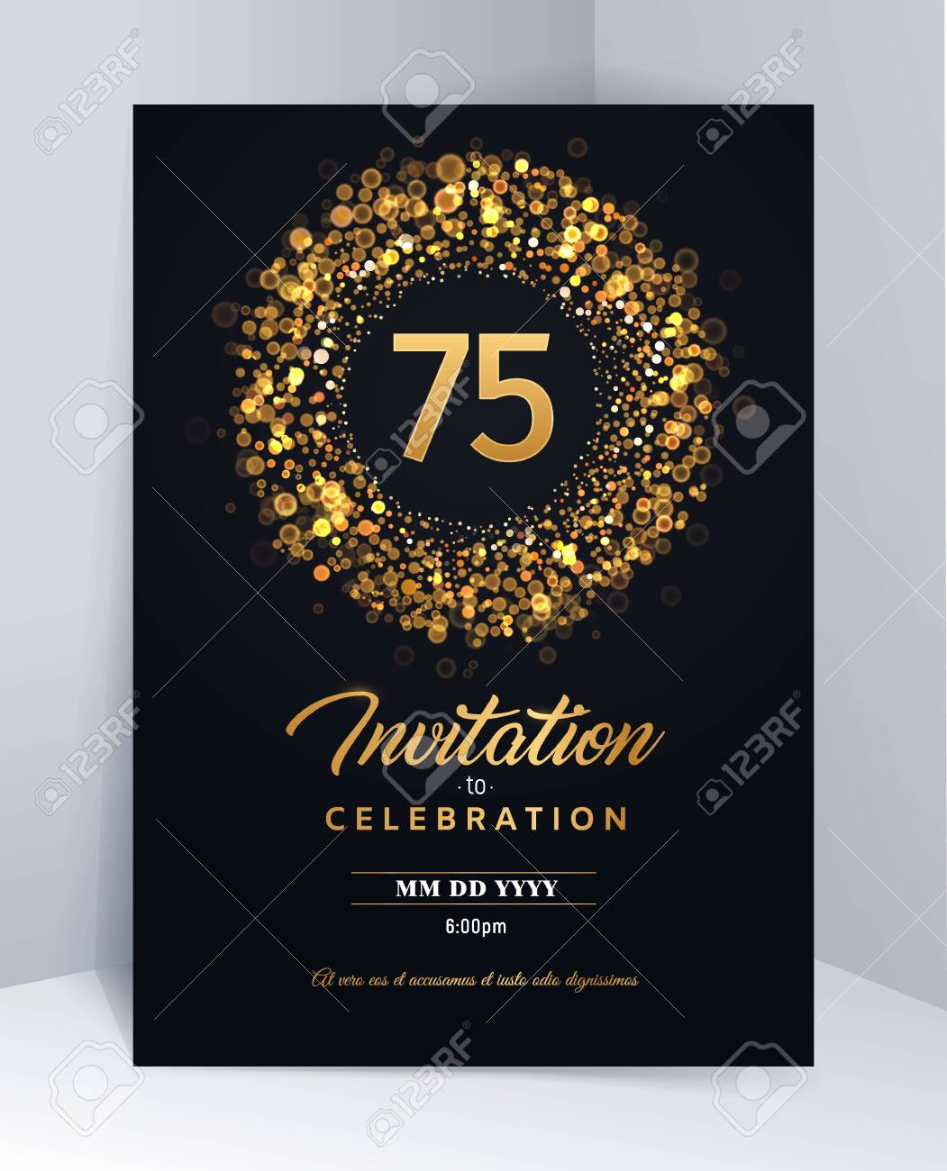 75 Years Anniversary Invitation Card Template Isolated Vector