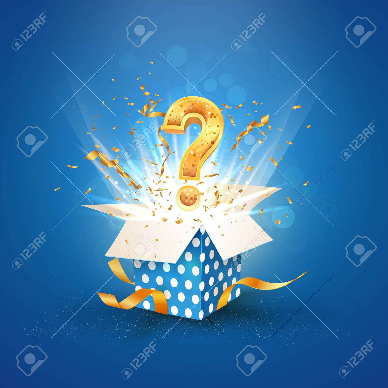 Open textured blue box with question sign and confetti explosion inside and on blue background. Lottery vector illustration - 131986433