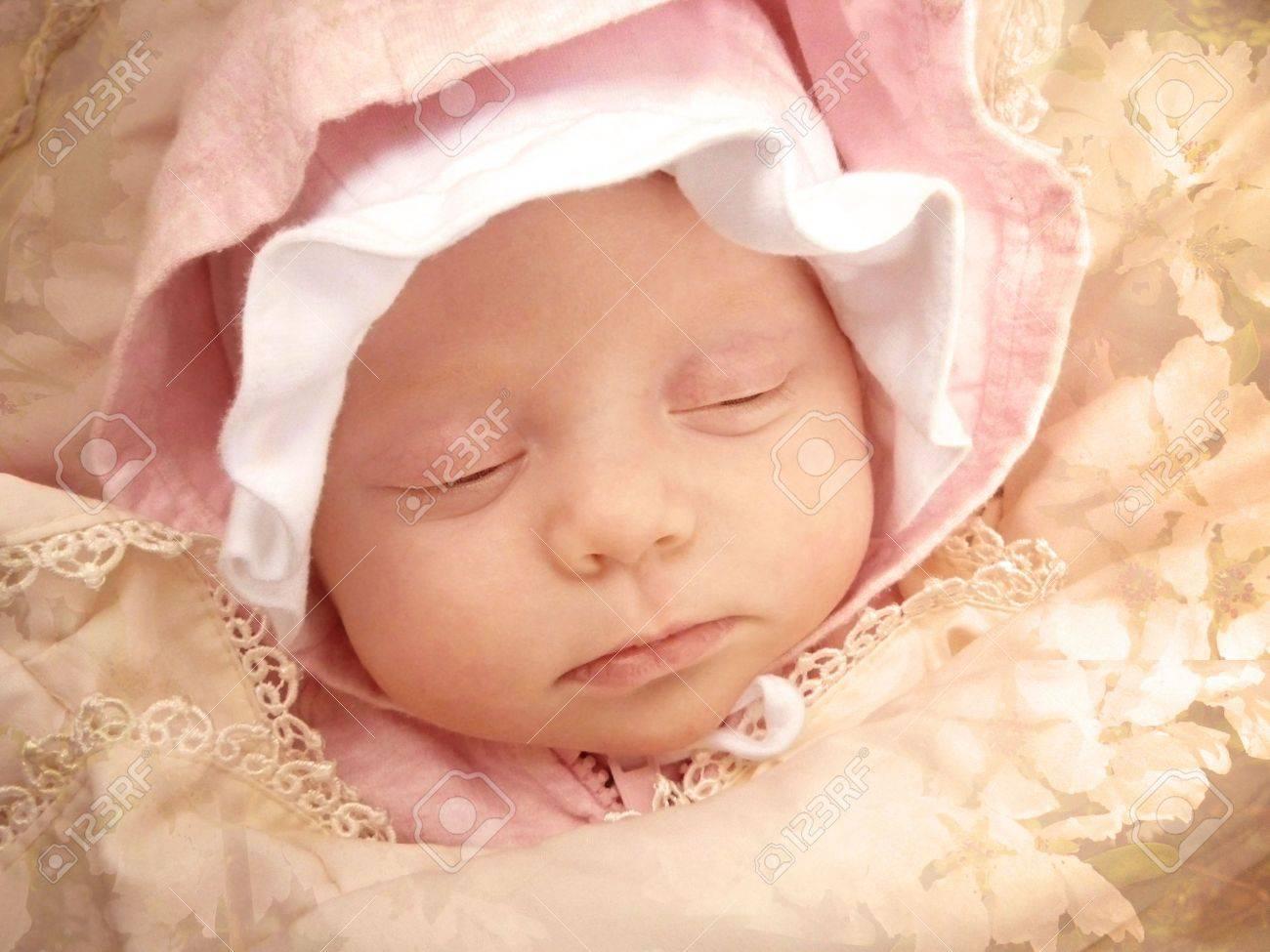 portrait of sweet dreaming baby girl framed apple-blossom texture Stock Photo - 3402567