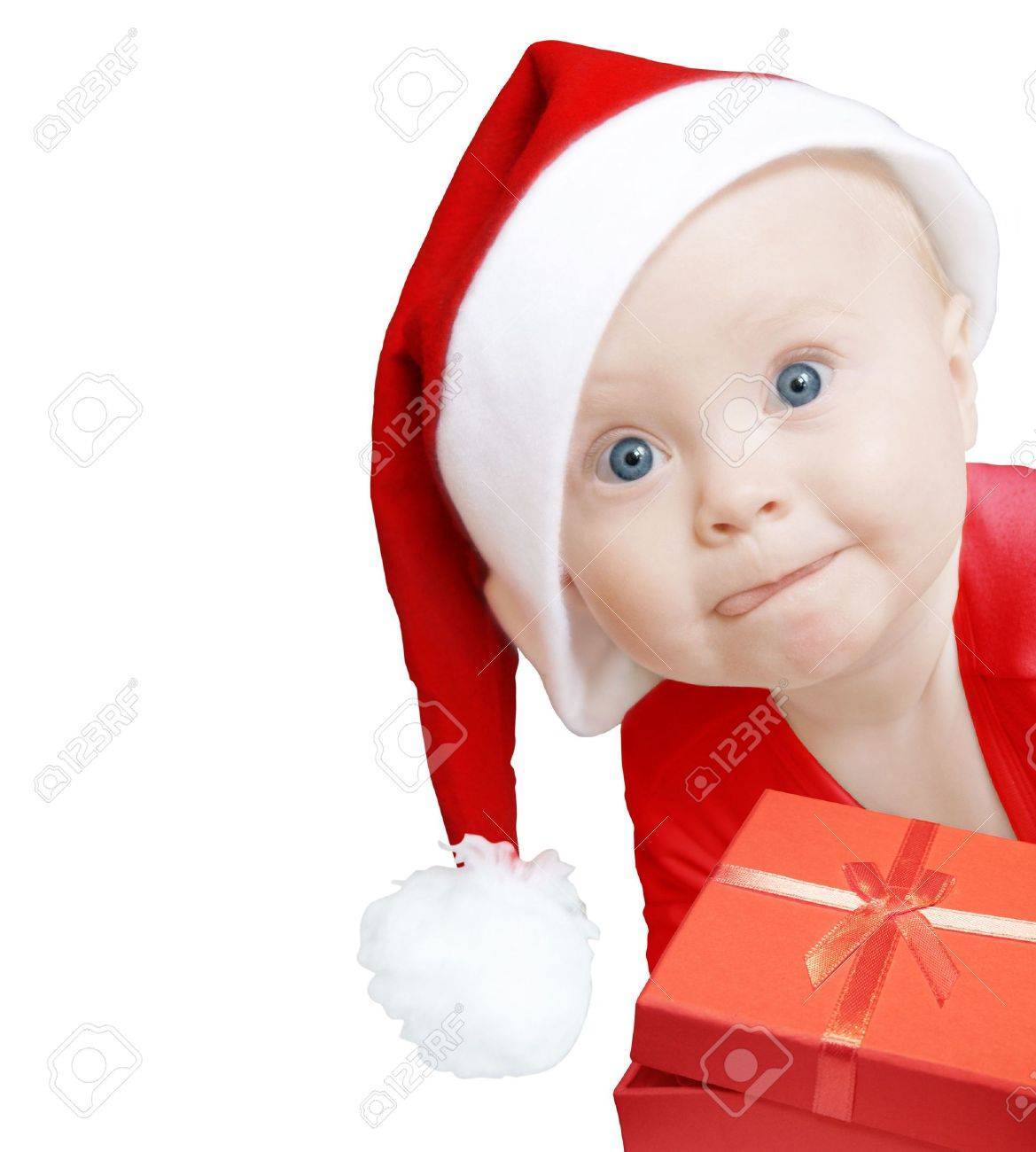 funny baby in Santa hat with present box on white background, space for text Stock Photo - 3884316