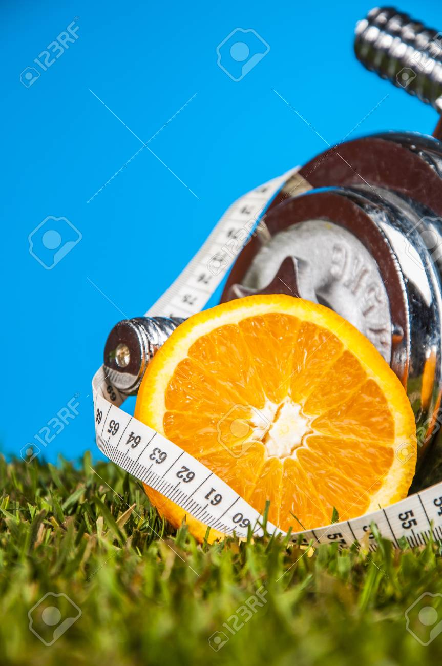Fitness composition with fruits and vegetables Stock Photo - 17550305