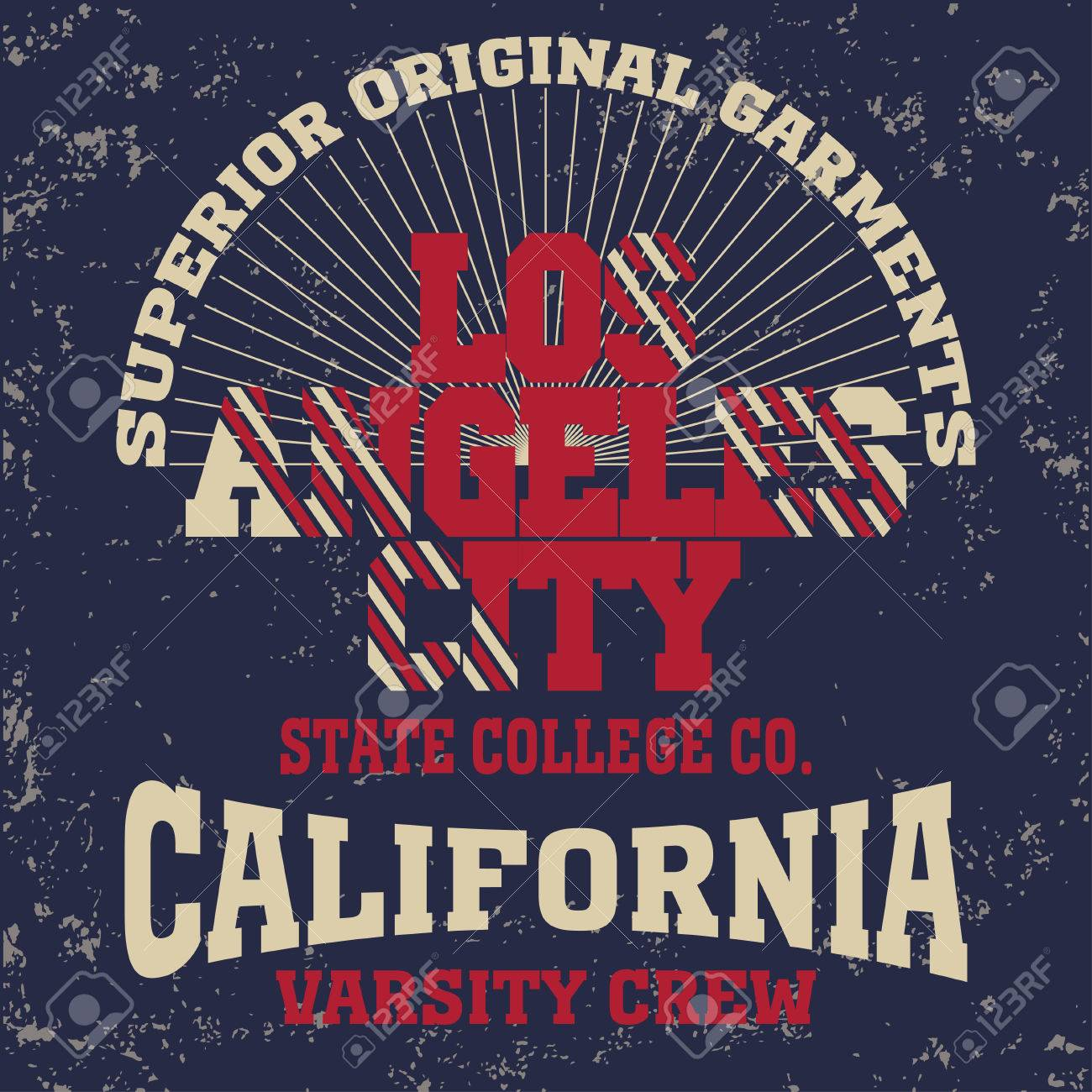College Fashion Design Print For T Shirt Los Angeles California Royalty Free Cliparts Vectors And Stock Illustration Image 64645974