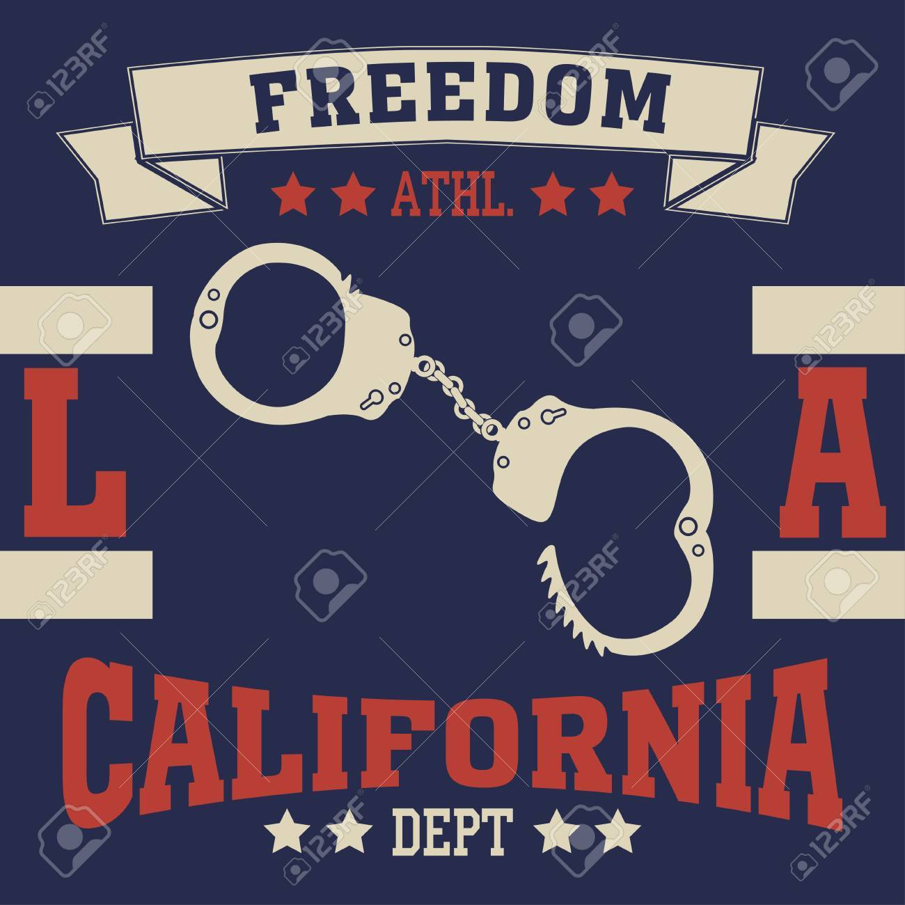 College Fashion Design Print Handcuffs For T Shirt Los Angeles Royalty Free Cliparts Vectors And Stock Illustration Image 68632283