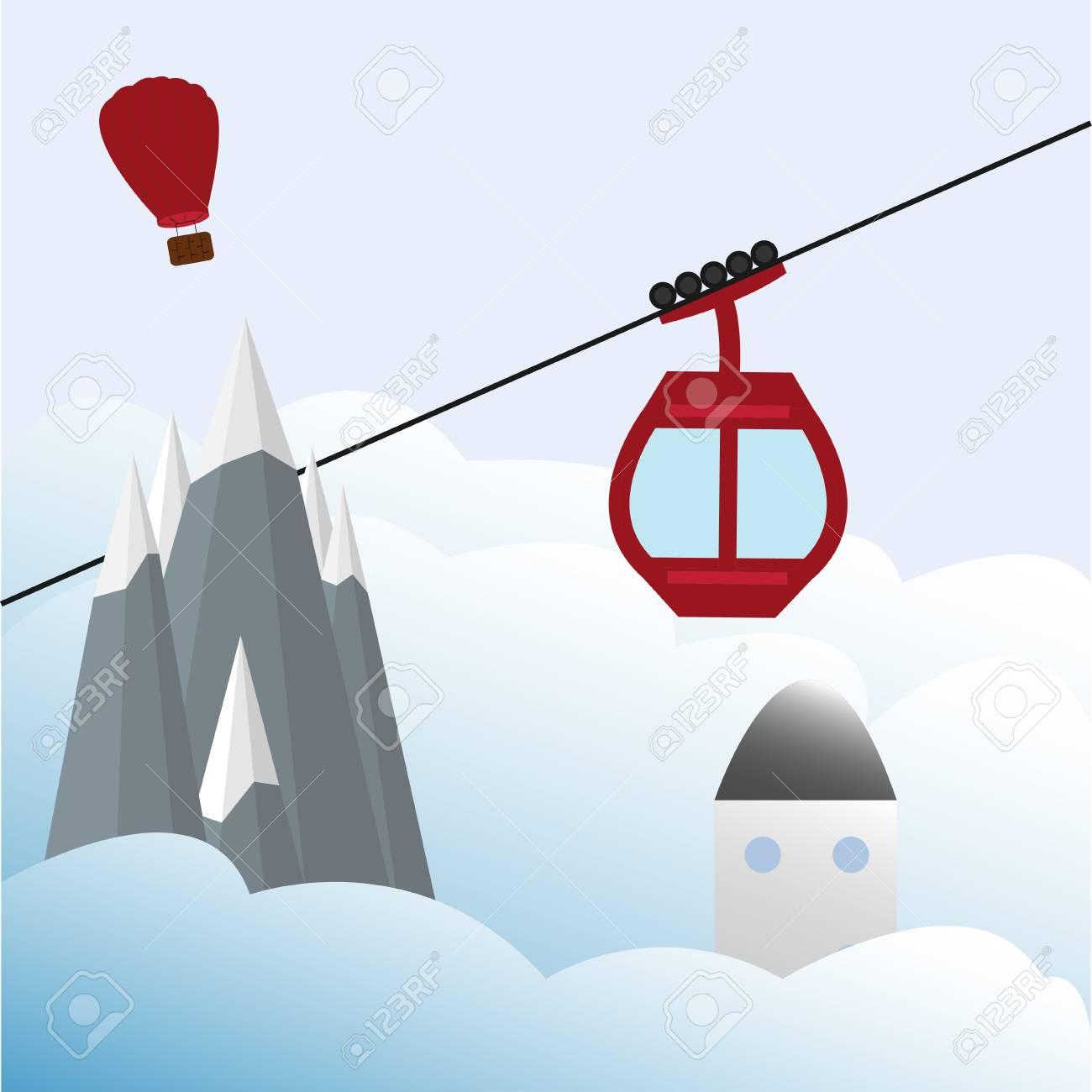 スキー場のリフト ゴンドラ雪山気球イラストのイラスト素材ベクタ