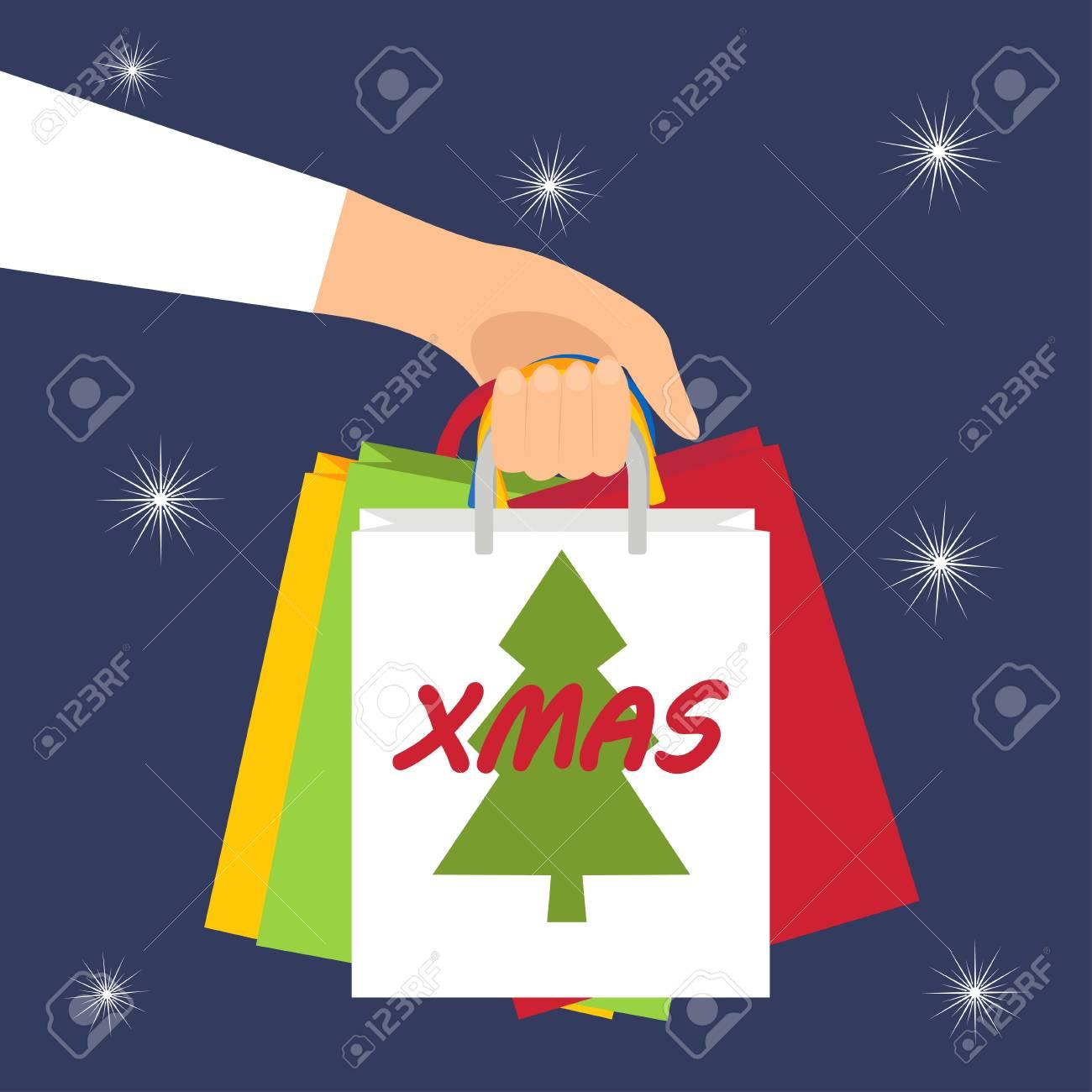 Weihnachtseinkauf. Man Hält In Der Hand Pakete Mit Geschenken Vektor ...