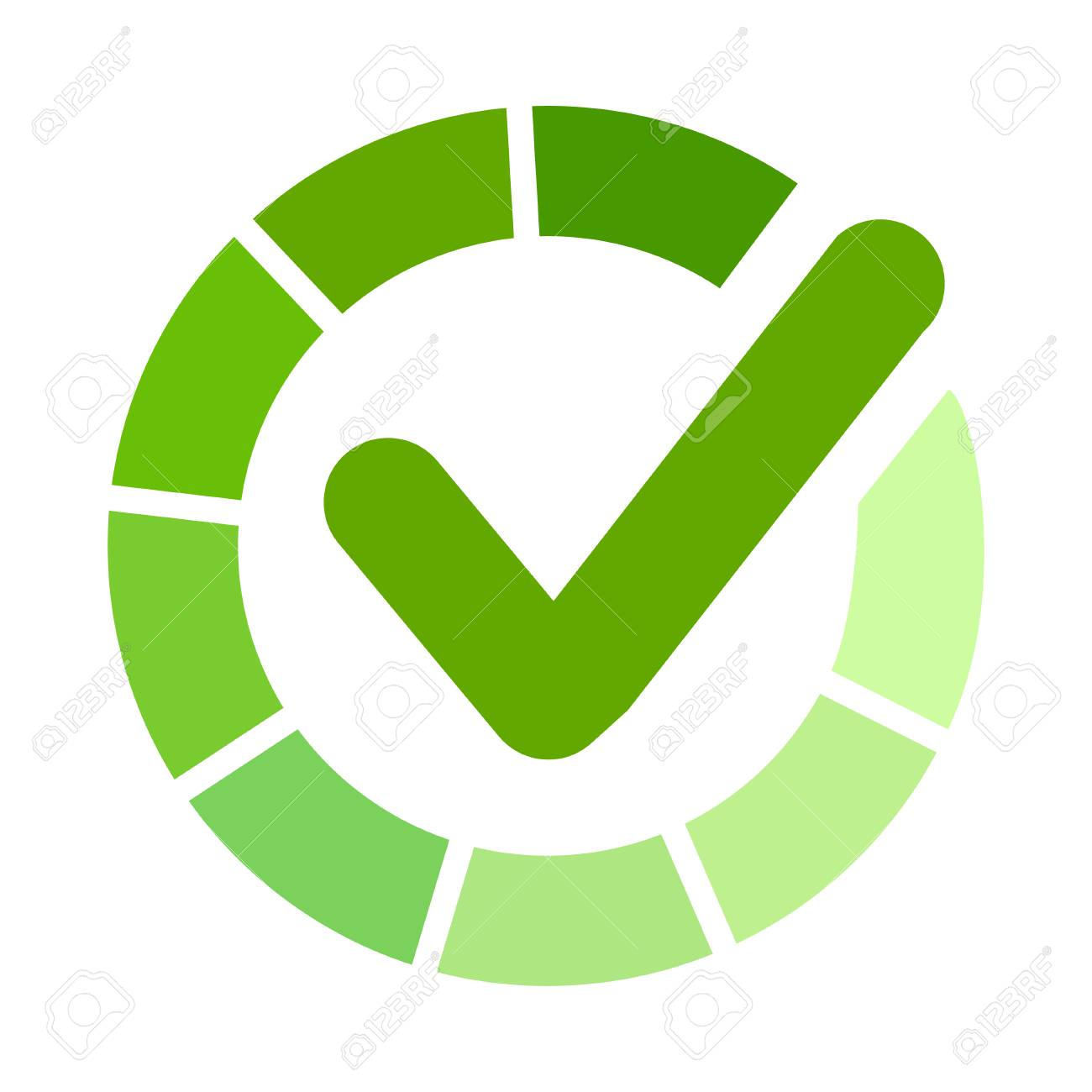 green ñheck mark tick hook signs in circle button for vote yes