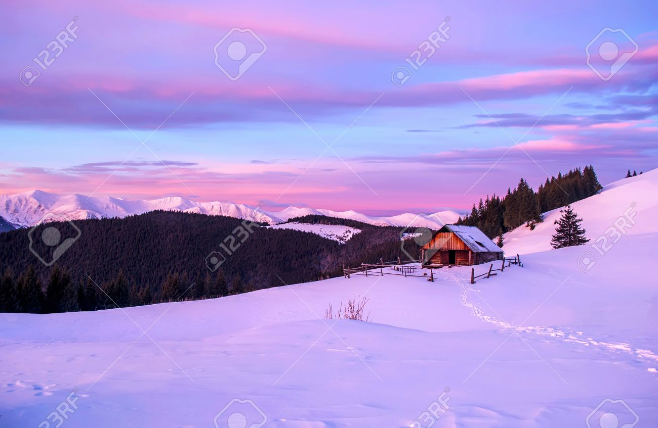 Romantic Landscape Of Lonely Wooden Hut In The Pink Light Of Stock