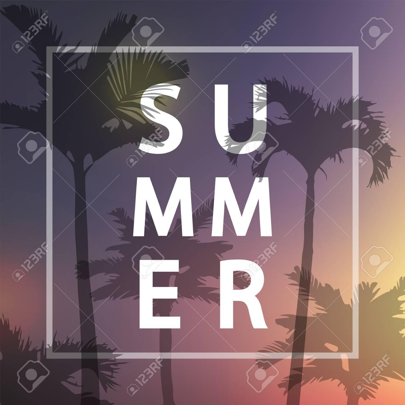 Summer Poster Vector IllustrationSummer Flyer With Palm Background Violet Gradient Retro