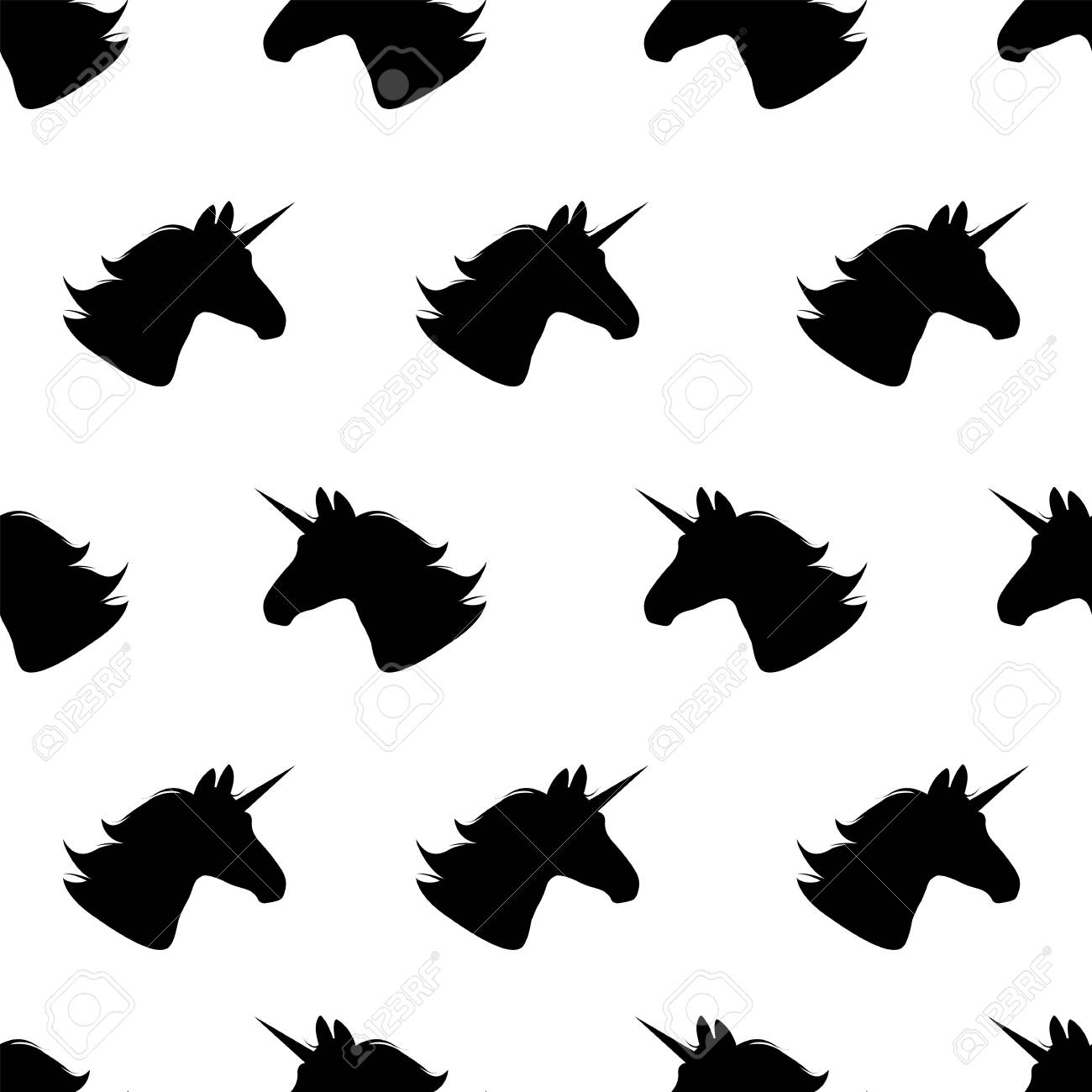 Unicorn  Seamless pattern Vector illustration  Black unicorns