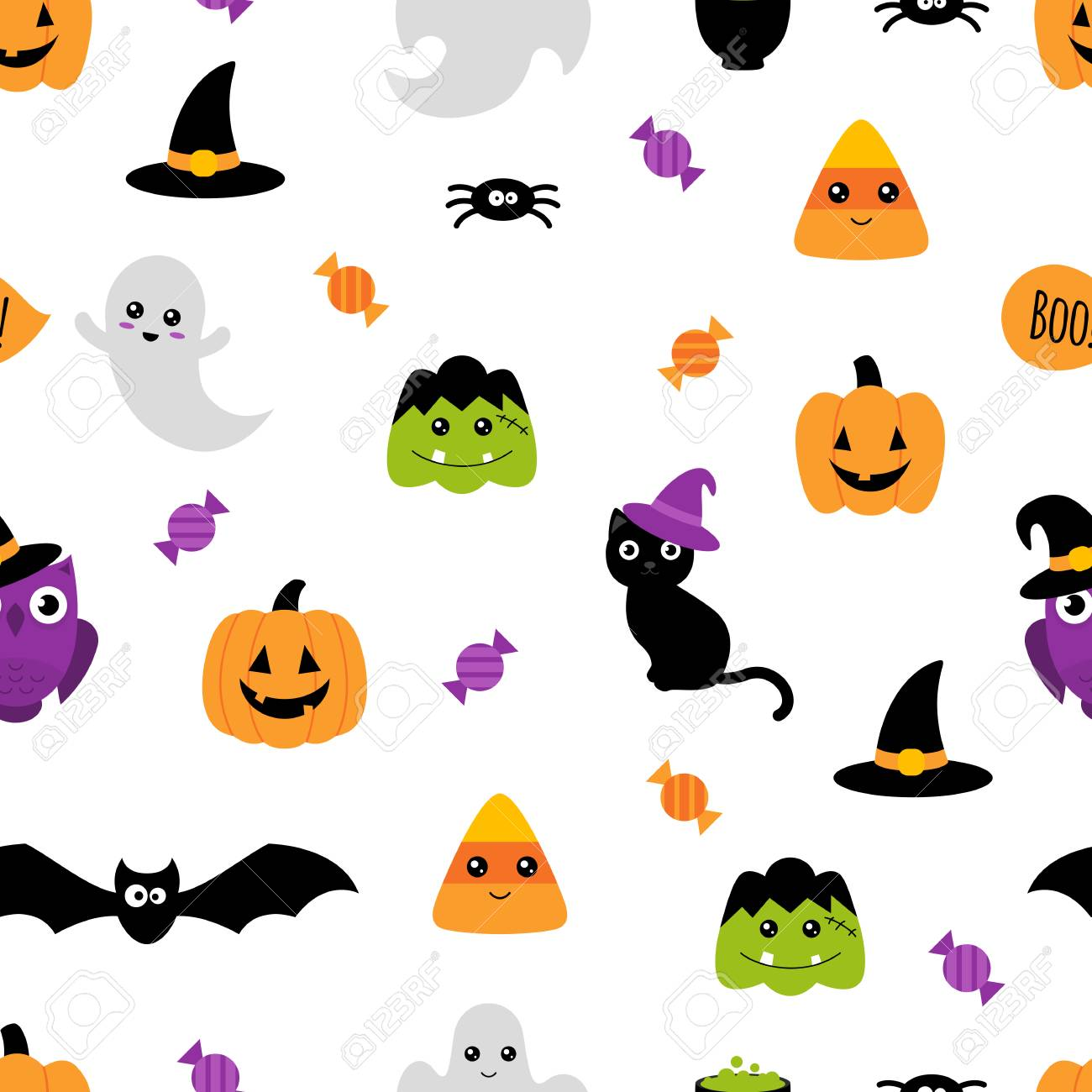 Halloween Seamless Pattern Cute Cartoon Wallpaper Withwhite Royalty Free Cliparts Vectors And Stock Illustration Image 108259353