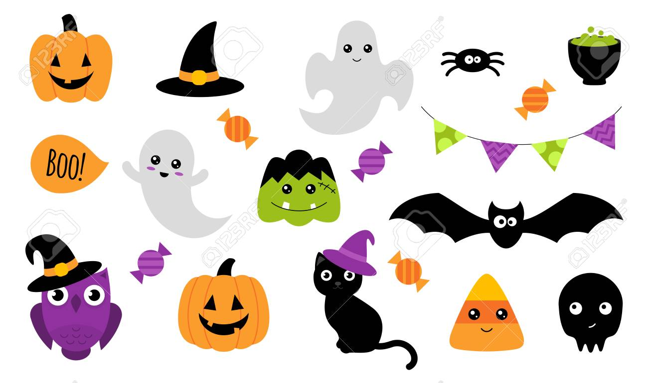 halloween stickers. set of cute halloween stickers with different