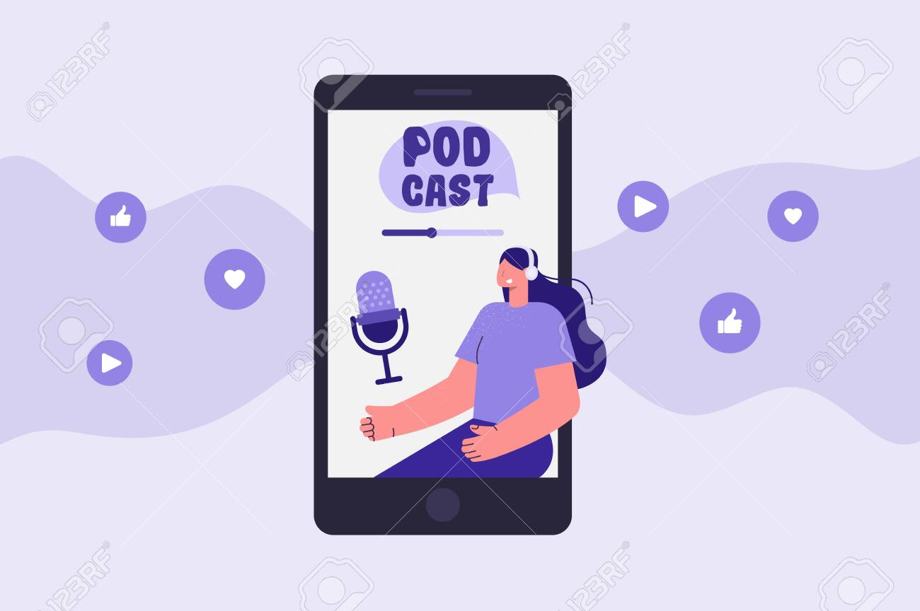 Podcast app illustration. Woman with headphones. Listen and record a podcast. Vector - 148299075