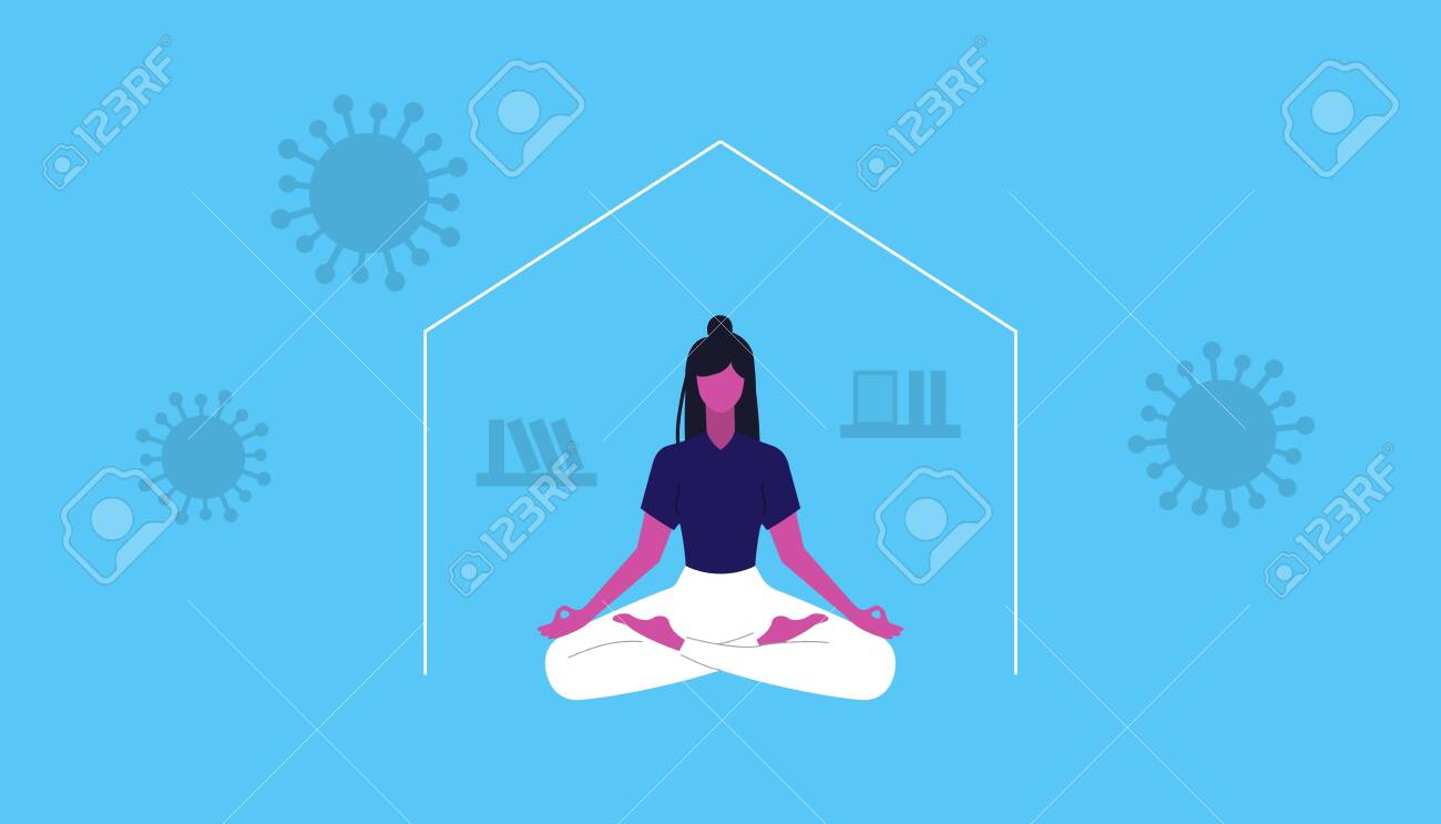 Young girl doing yora and meditate. Keep calm and don t panic. Coronavirus self isolation. Vector illustration - 148299086