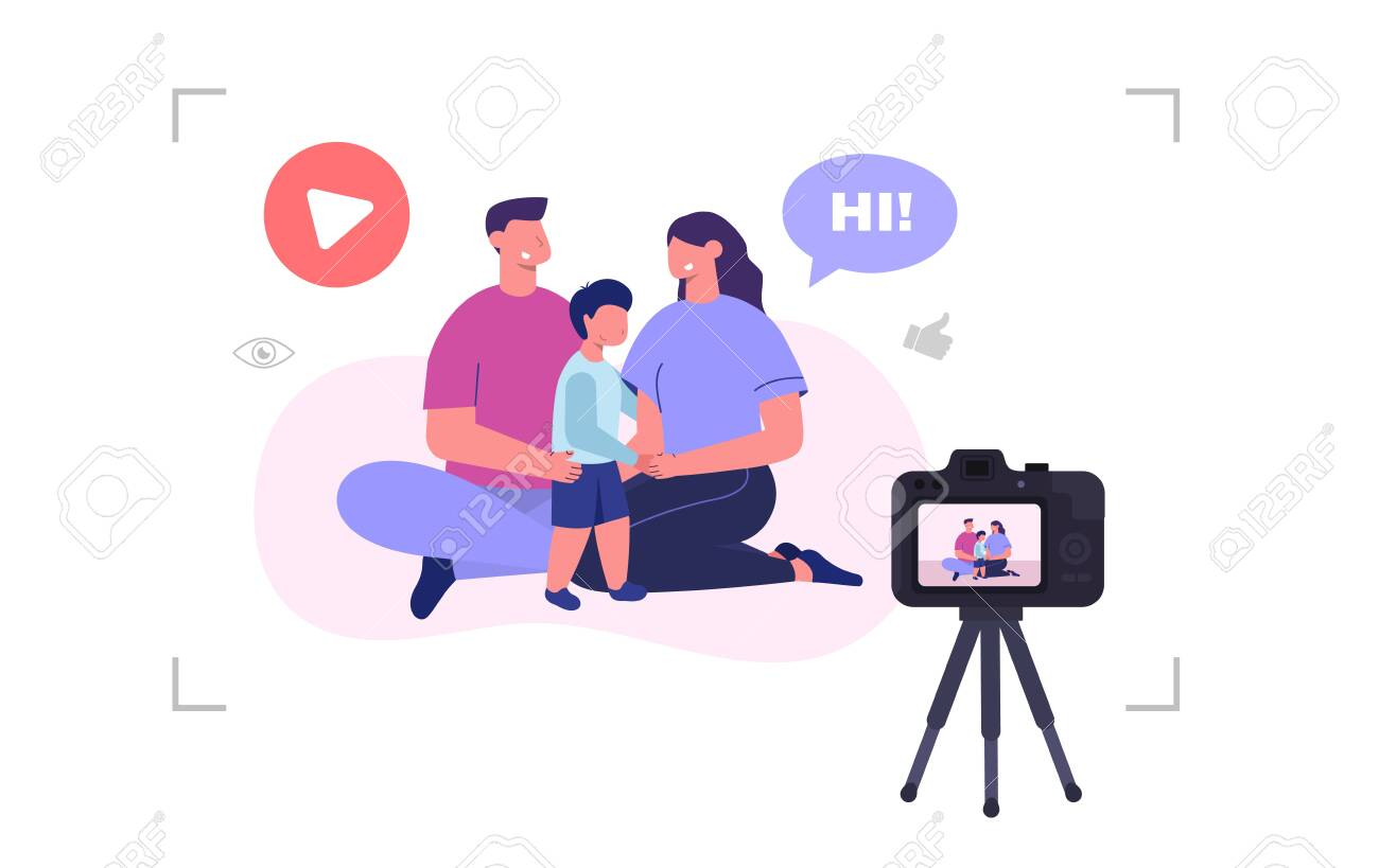 Family video blog. Mom, dad and son recording video. Vector illustration - 148299101