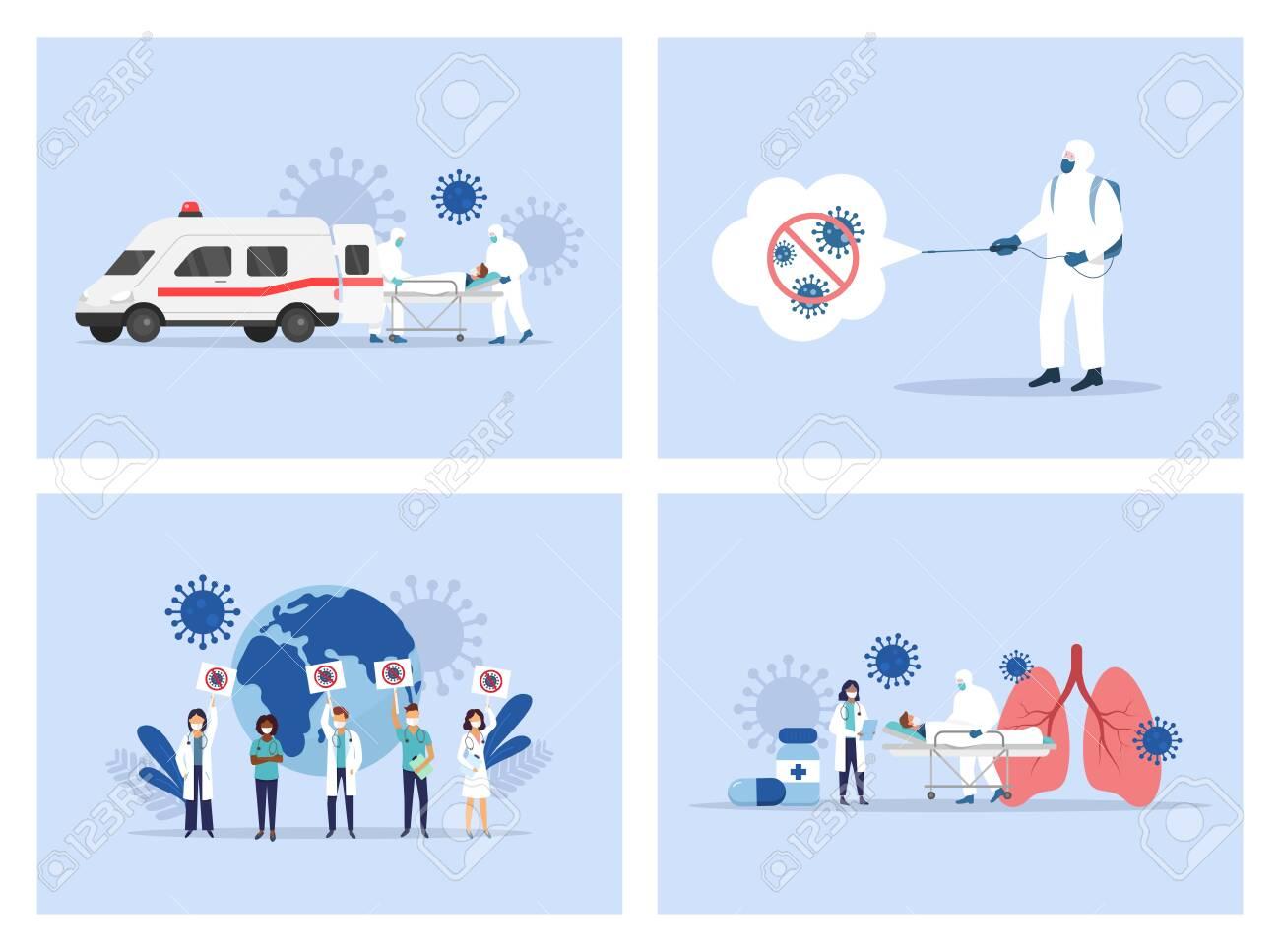 Coronavirus. Medical staff. Ambulance. Doctors and nusres Vector illustration - 148299117