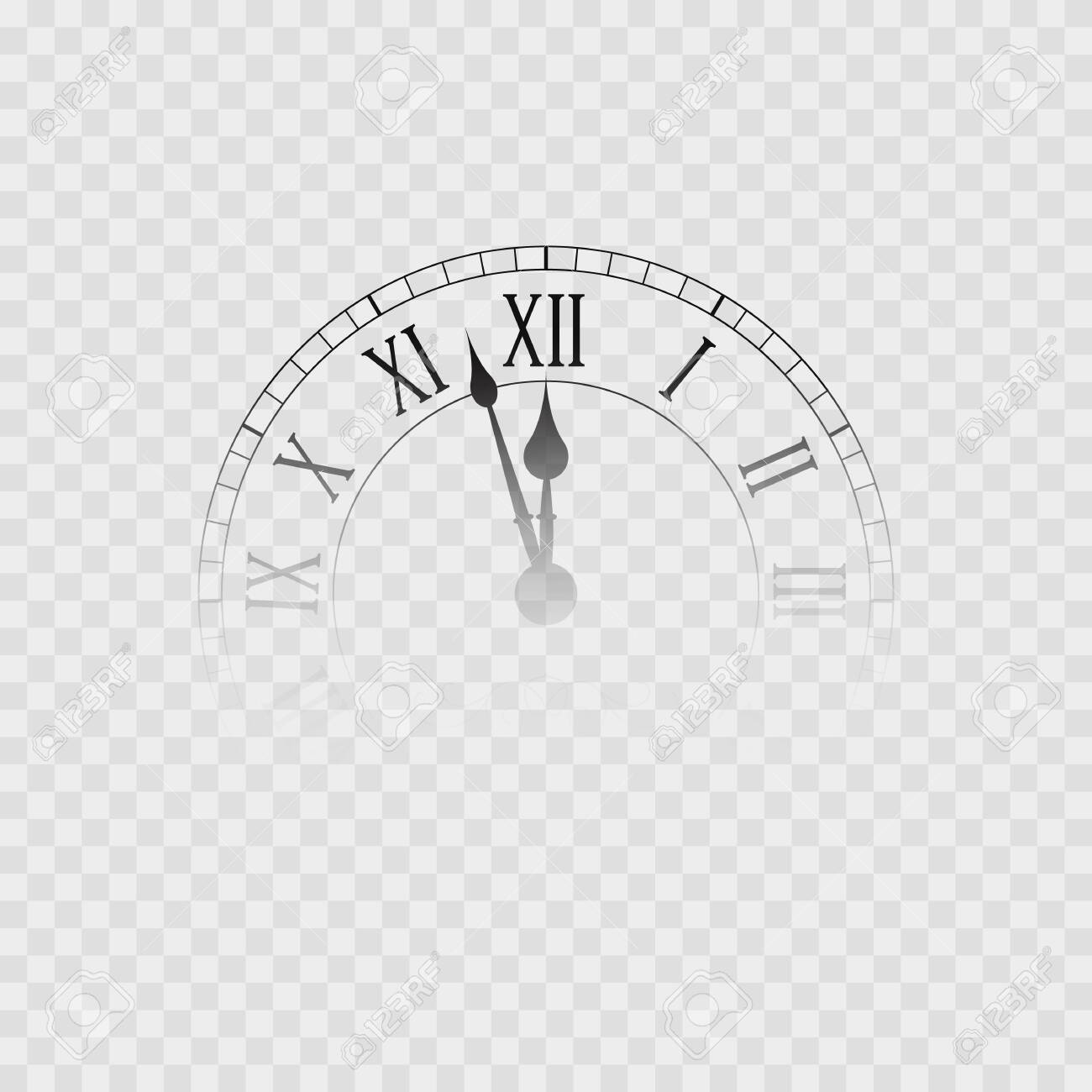 New year clock. Transparent clock icon, Isolated on white. Vector illustration - 148299120