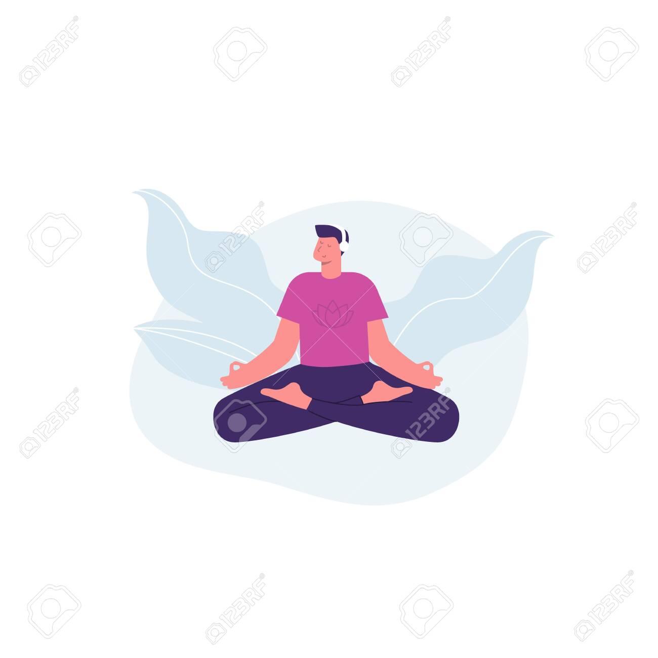 Meditation man. Yoga. Man with headphones listening guided meditation. Vector illustration - 148299123