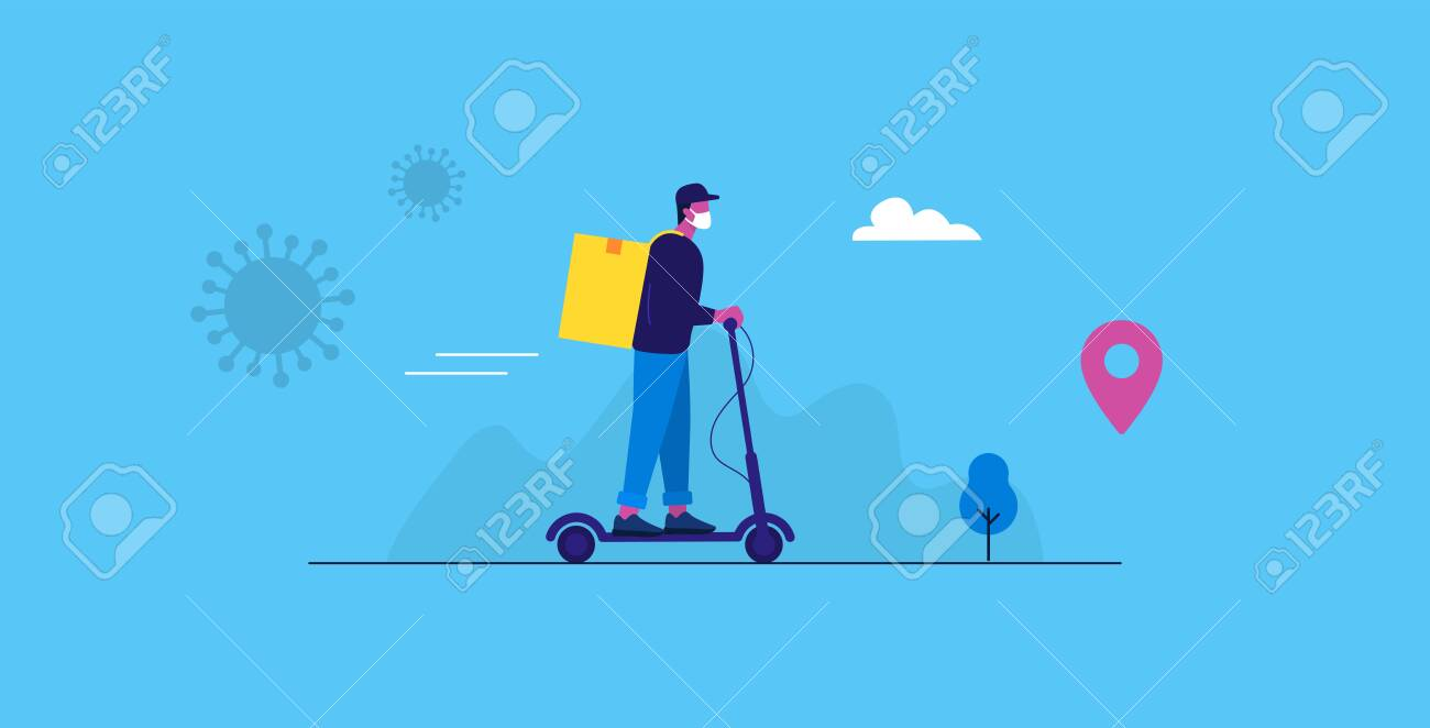 Online delivery service. Express delivery by electric scooter. Driver with medical mask. Vector illustration - 148299136