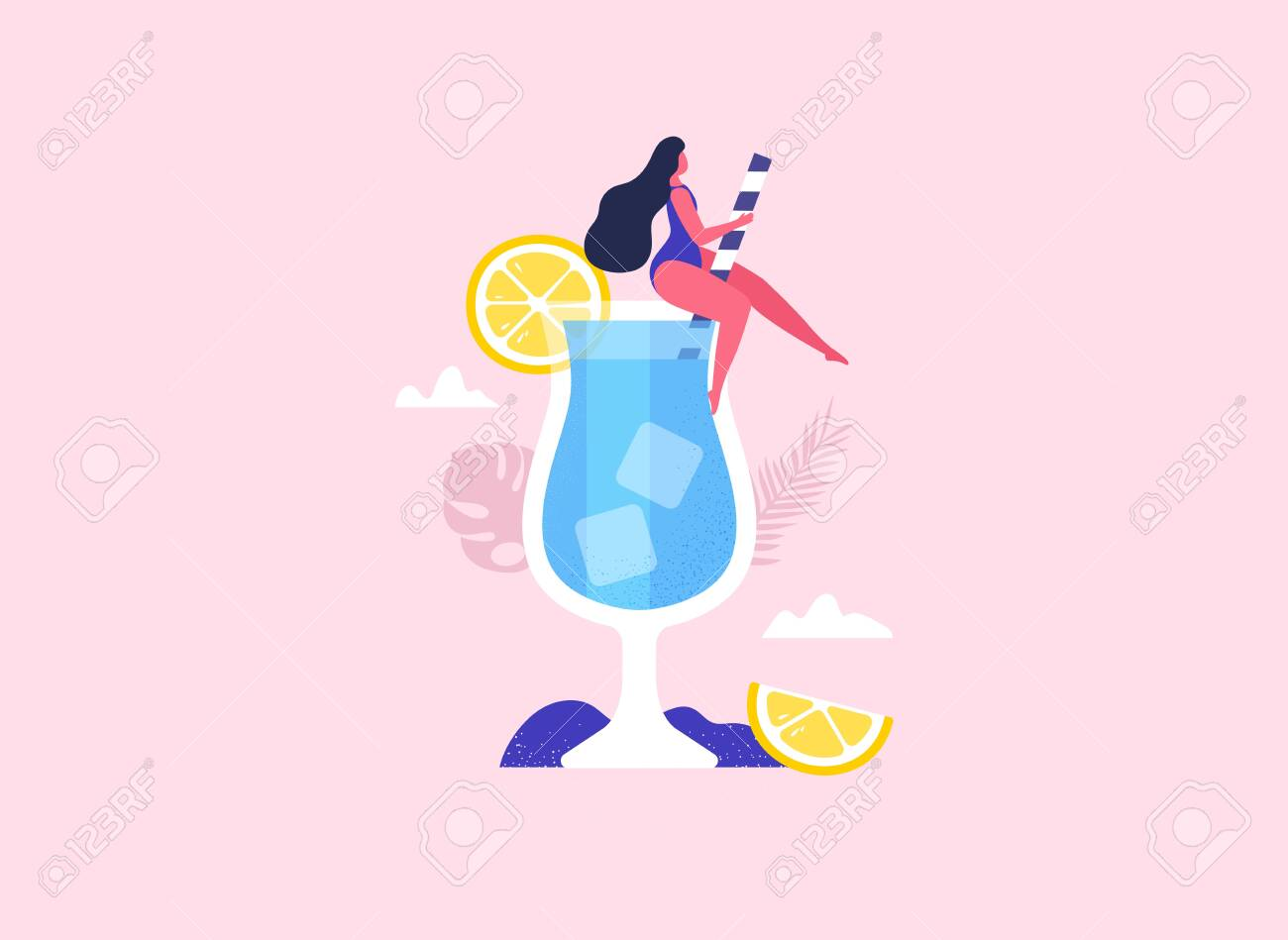 Summer girl sitting in the cocktail. Summer party fun. Vector - 152125893