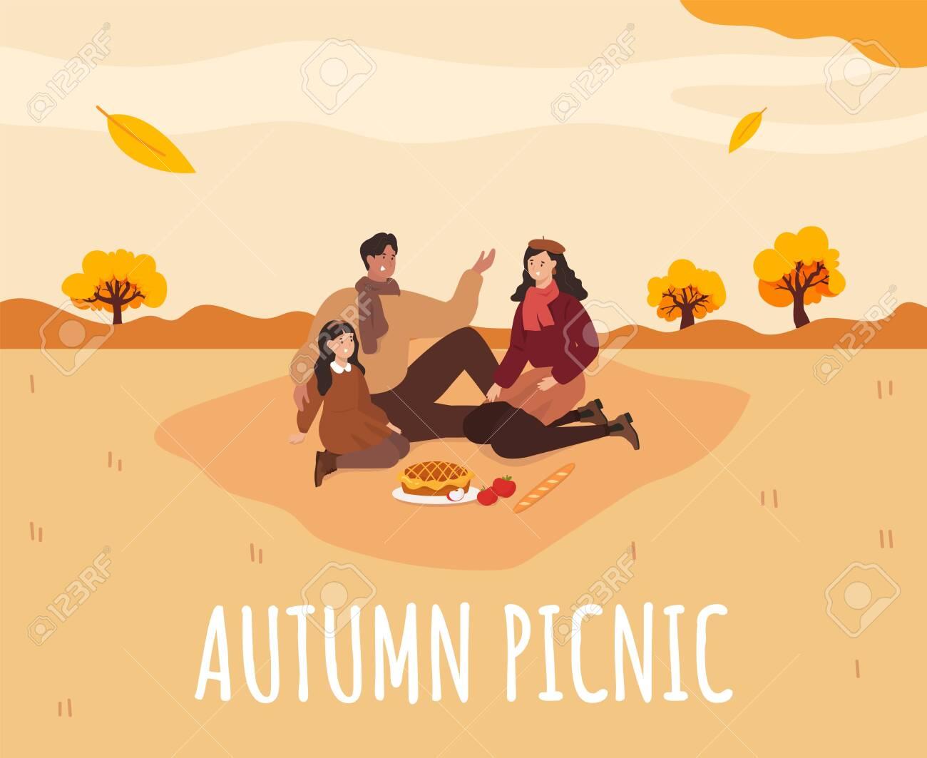 Family picnic in Autumn. Apple pie. Cozy autumn picnic. Vector - 152125895