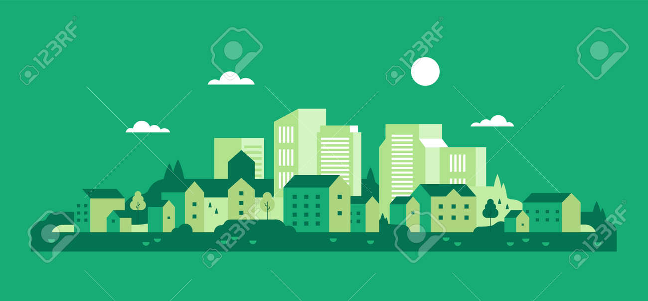 Green city. Ecology. Houses background. Flat minimal style. Vector - 152024865
