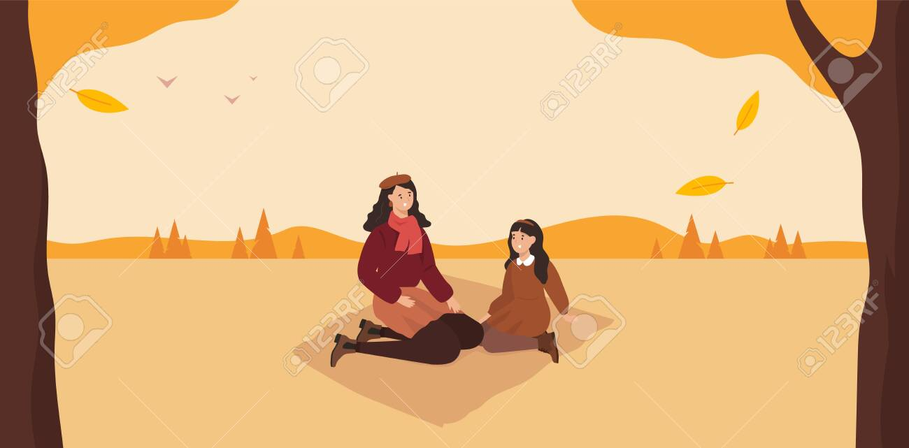 Cute autumn picnic. Mom and daughter. Fall forest. Vector - 152024767