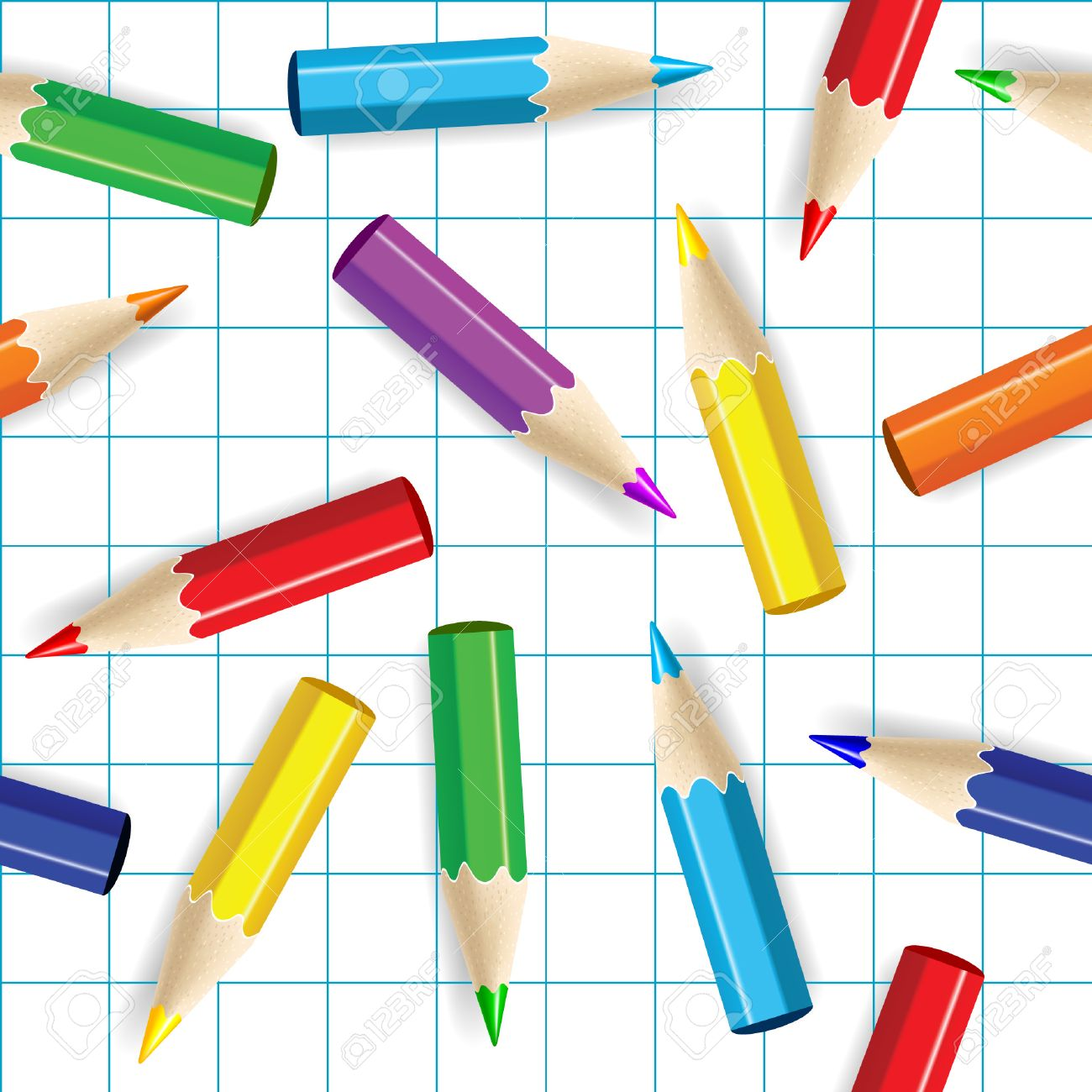 Color pencils seamless background. Stock Vector - 4862647
