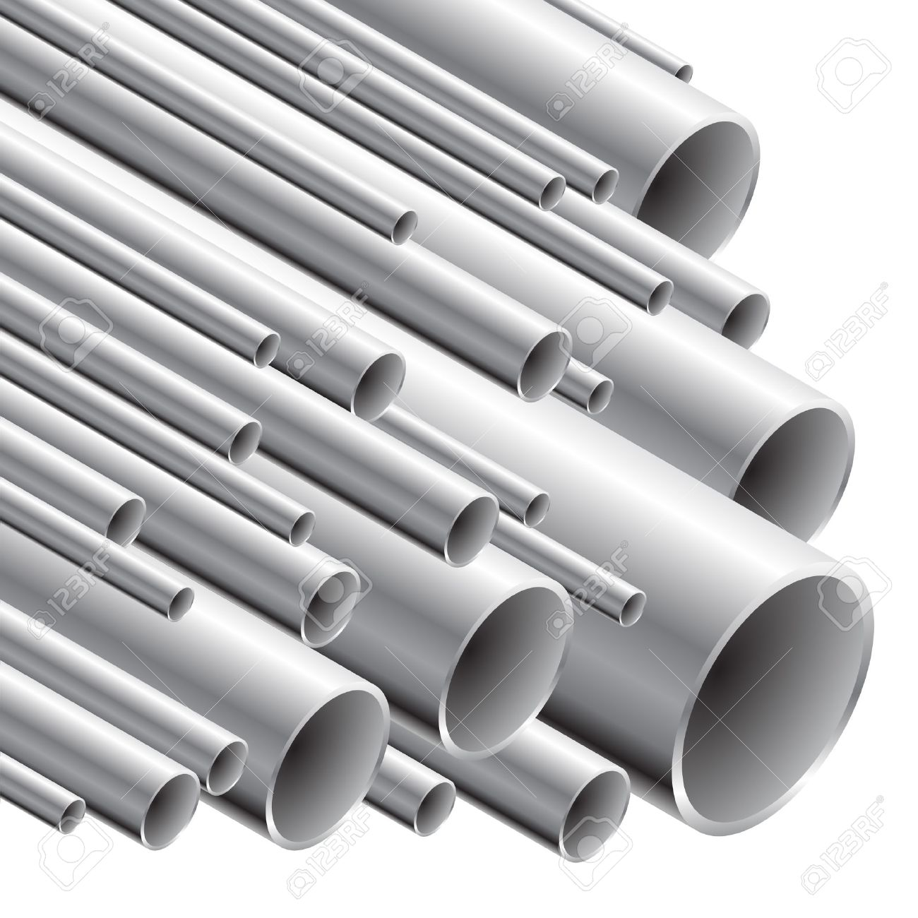 Stack of steel tubing (vector illustration). - 6419000
