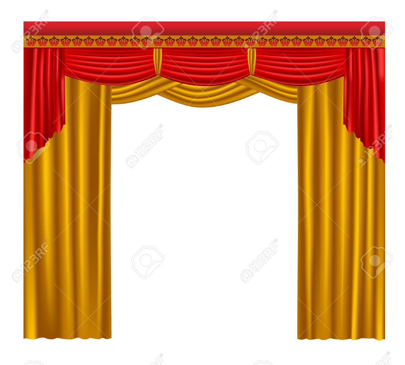 Gold stage curtain - Gold Curtain Stock Vector 6690493
