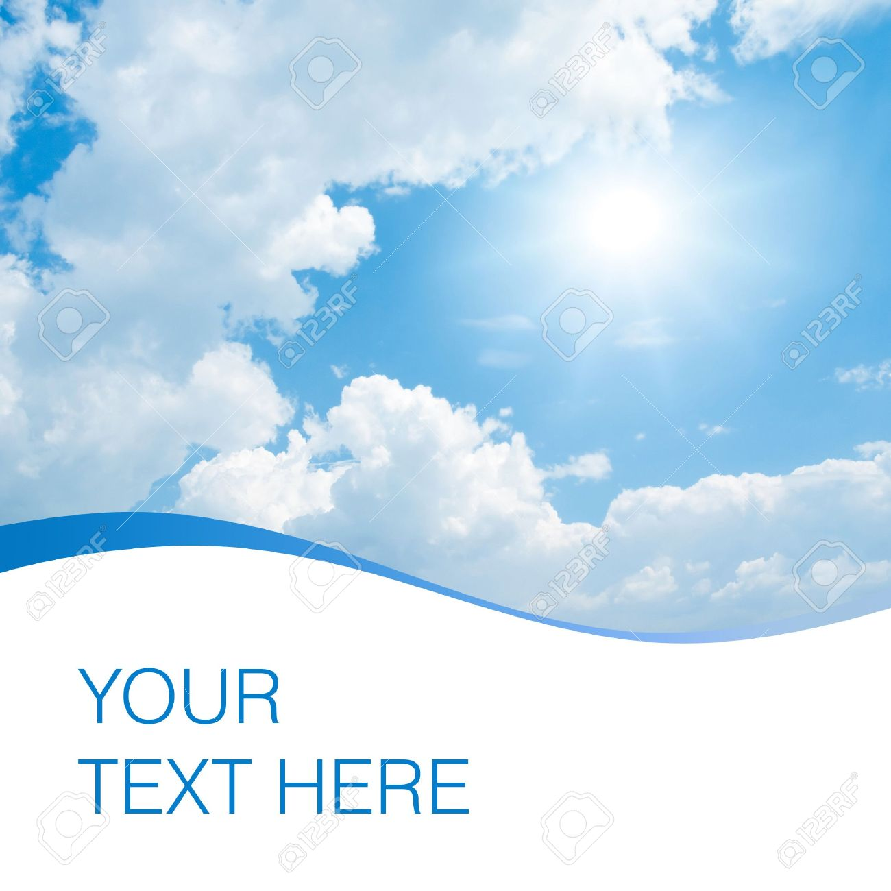 Sun, blue sky and white clouds with space for text. Stock Photo - 7623291