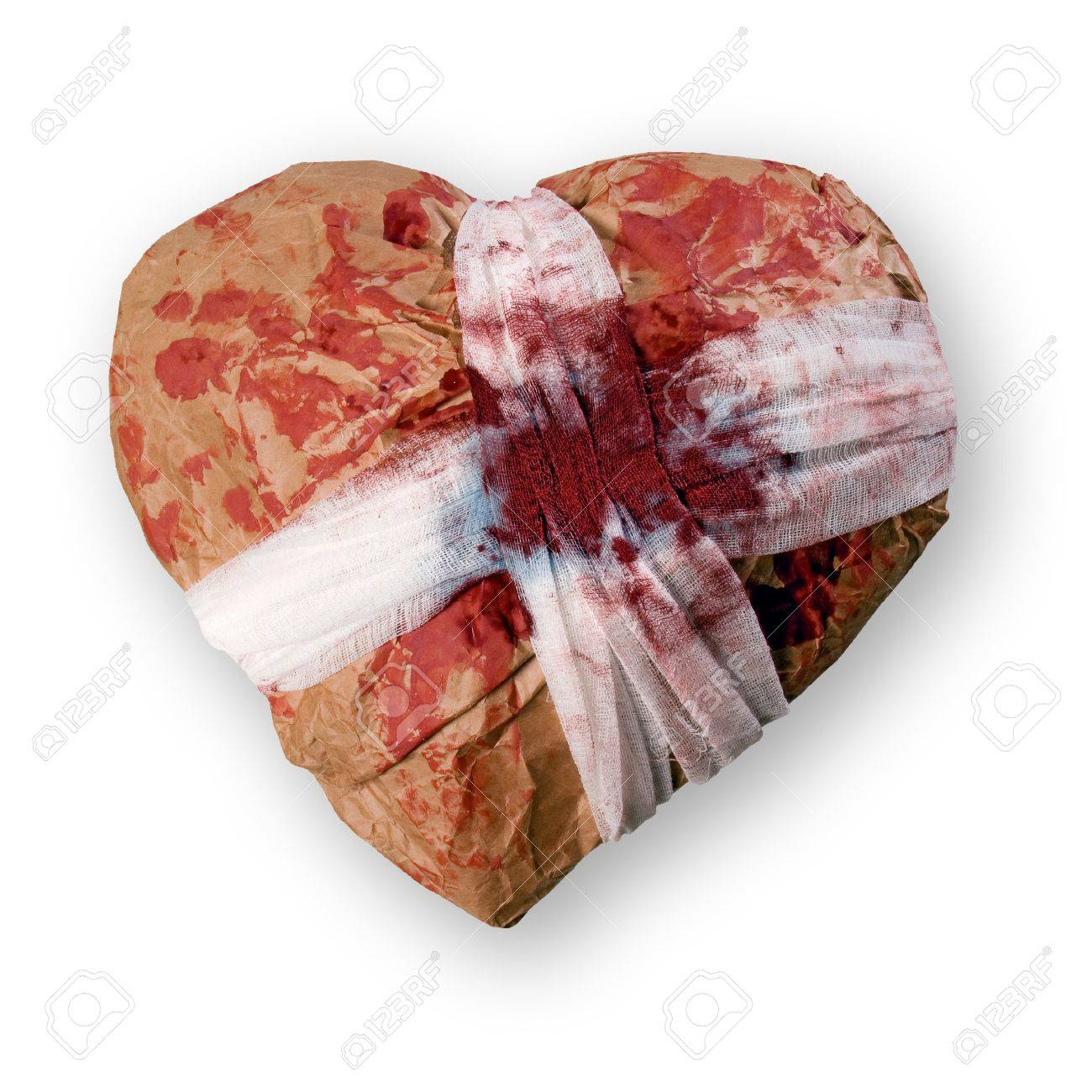 My heart - gift for you! (Injured heart isolated on white background). Stock Photo - 8415446