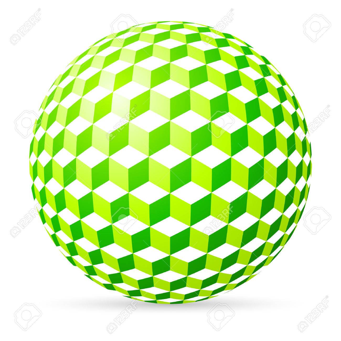 Green spherical cubes on white background. Stock Vector - 9093844