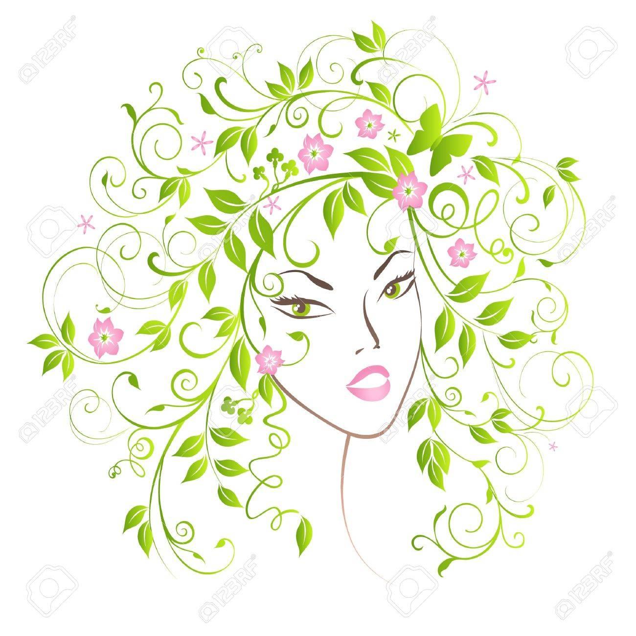 Portrait pretty girl with flourish hair. Stock Vector - 9093849