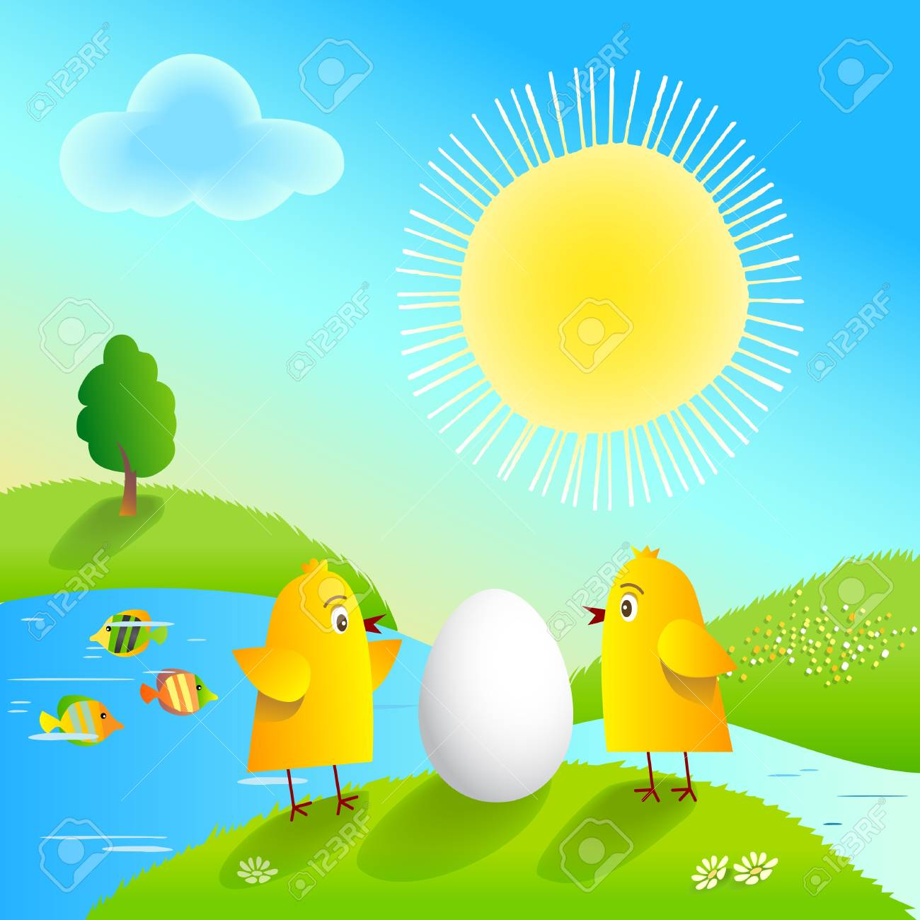 Happy Easter with funny chickens and egg. Stock Vector - 9167760