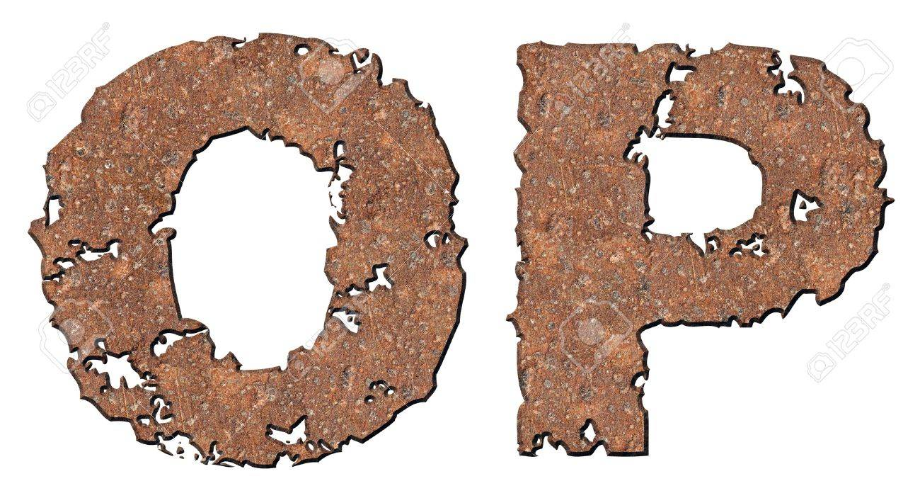 Rusty letters with torn edge isolated on white background (series). Stock Photo - 10348865