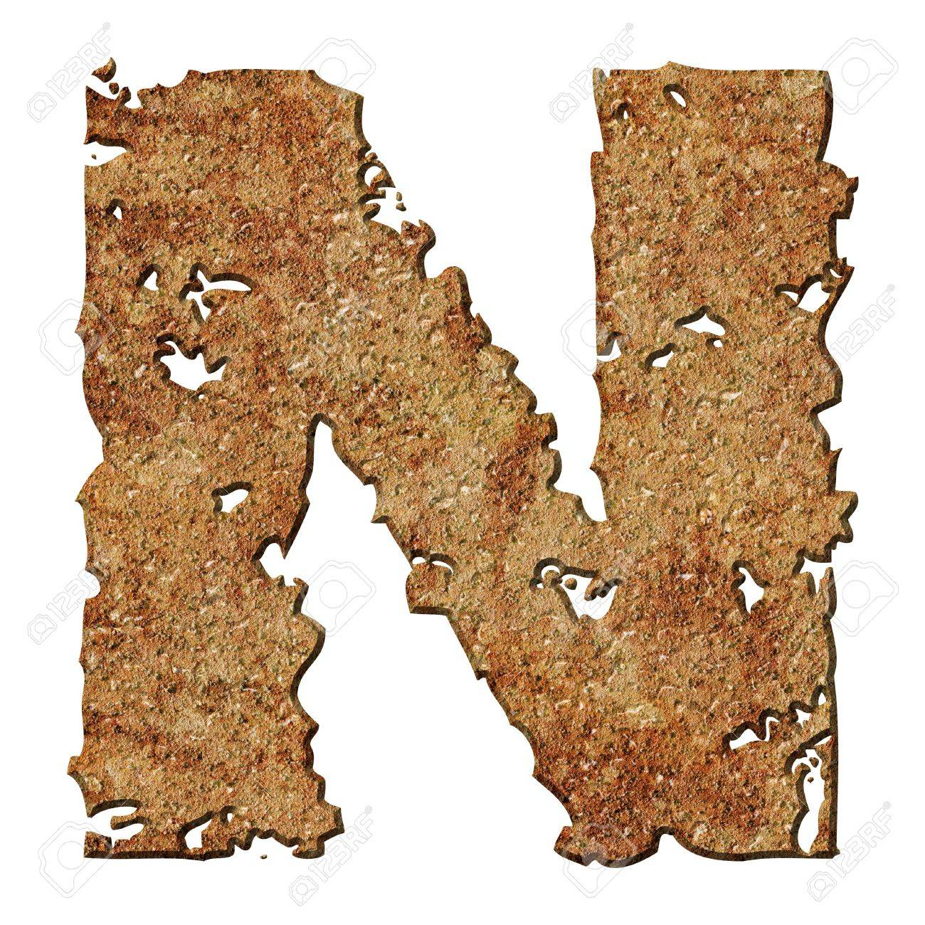 Rusty letters with torn edge isolated on white background (series). Stock Photo - 10359717