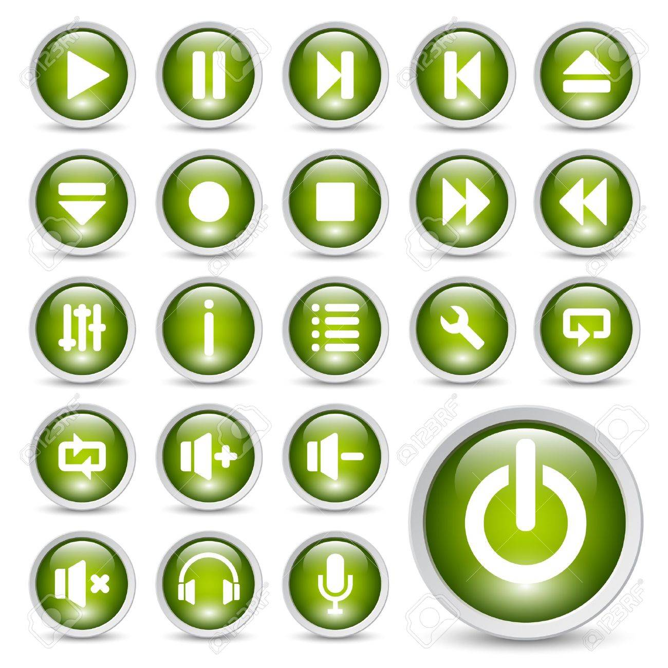 Classic media player buttons icon set. Stock Vector - 10555313