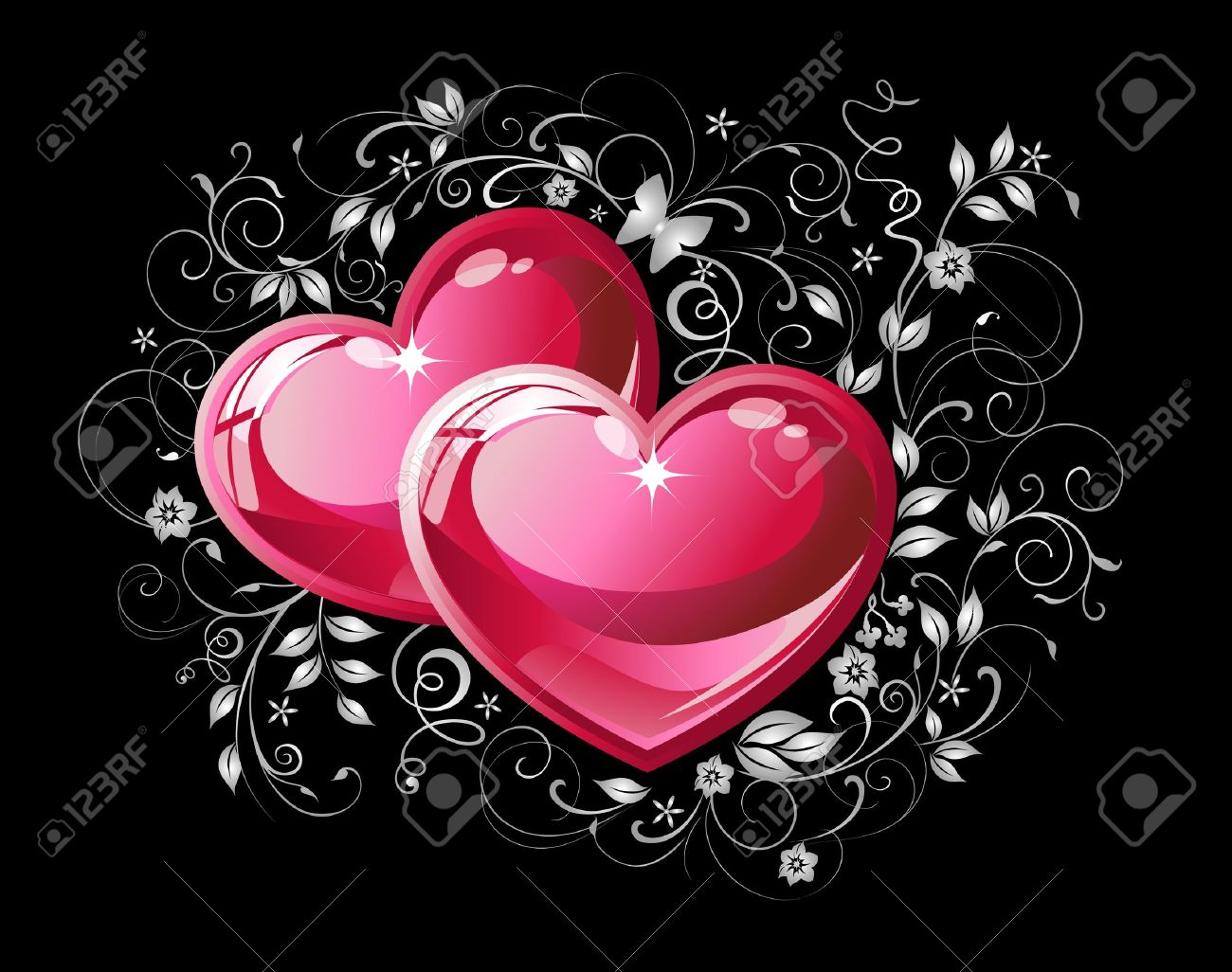 couple red hearts on black background royalty free cliparts