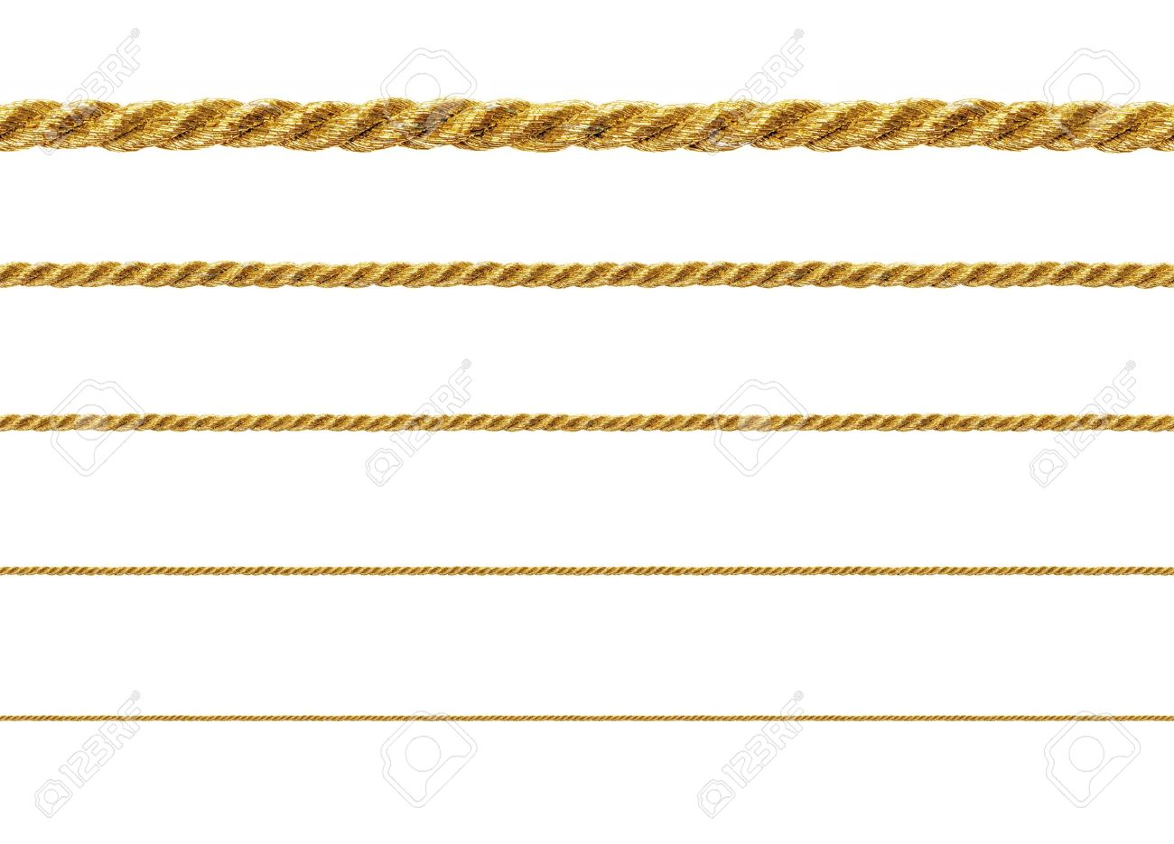 Seamless golden rope isolated on white background for continuous replicate. Stock Photo - 12982296