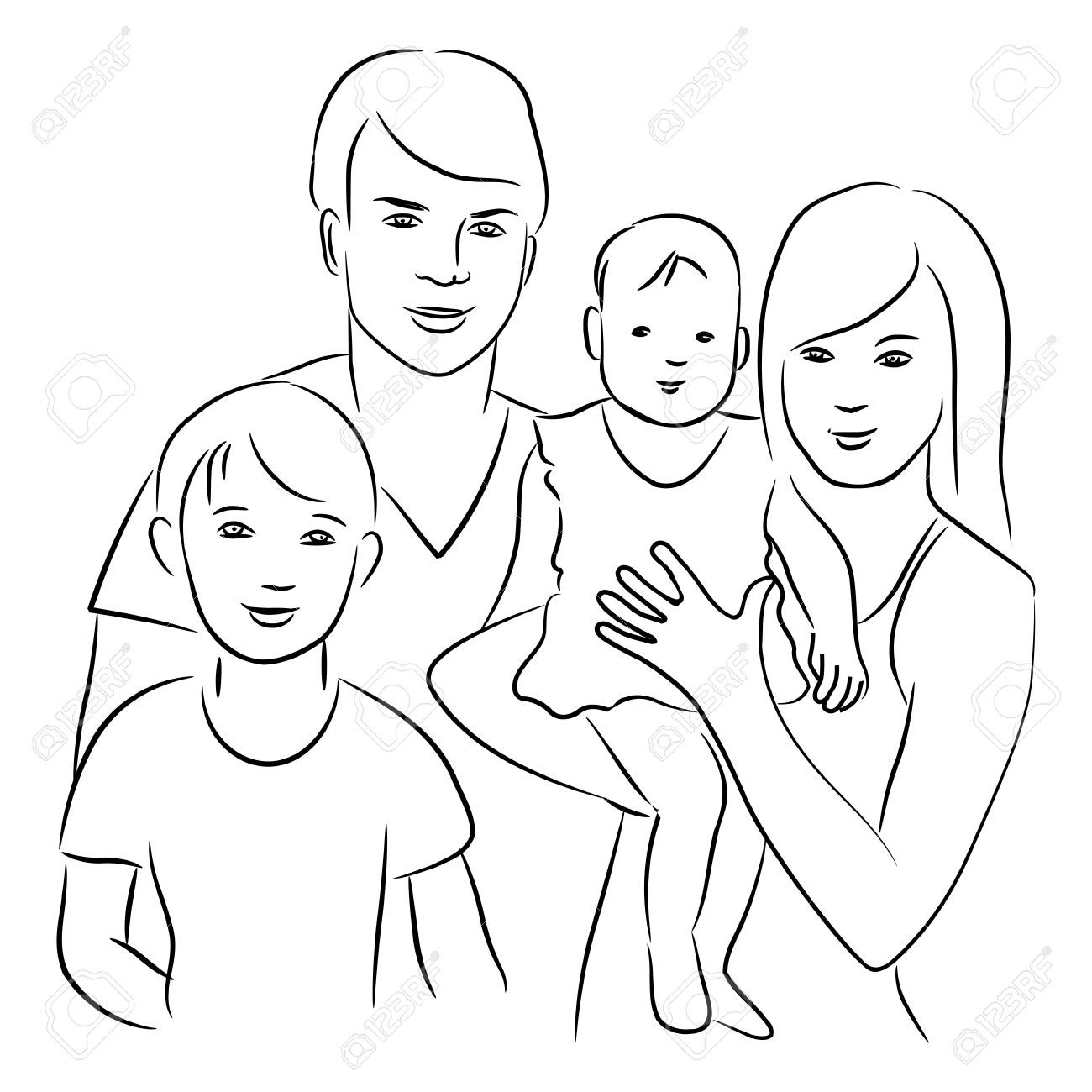 Family - sketch drawing. Stock Vector - 14970009