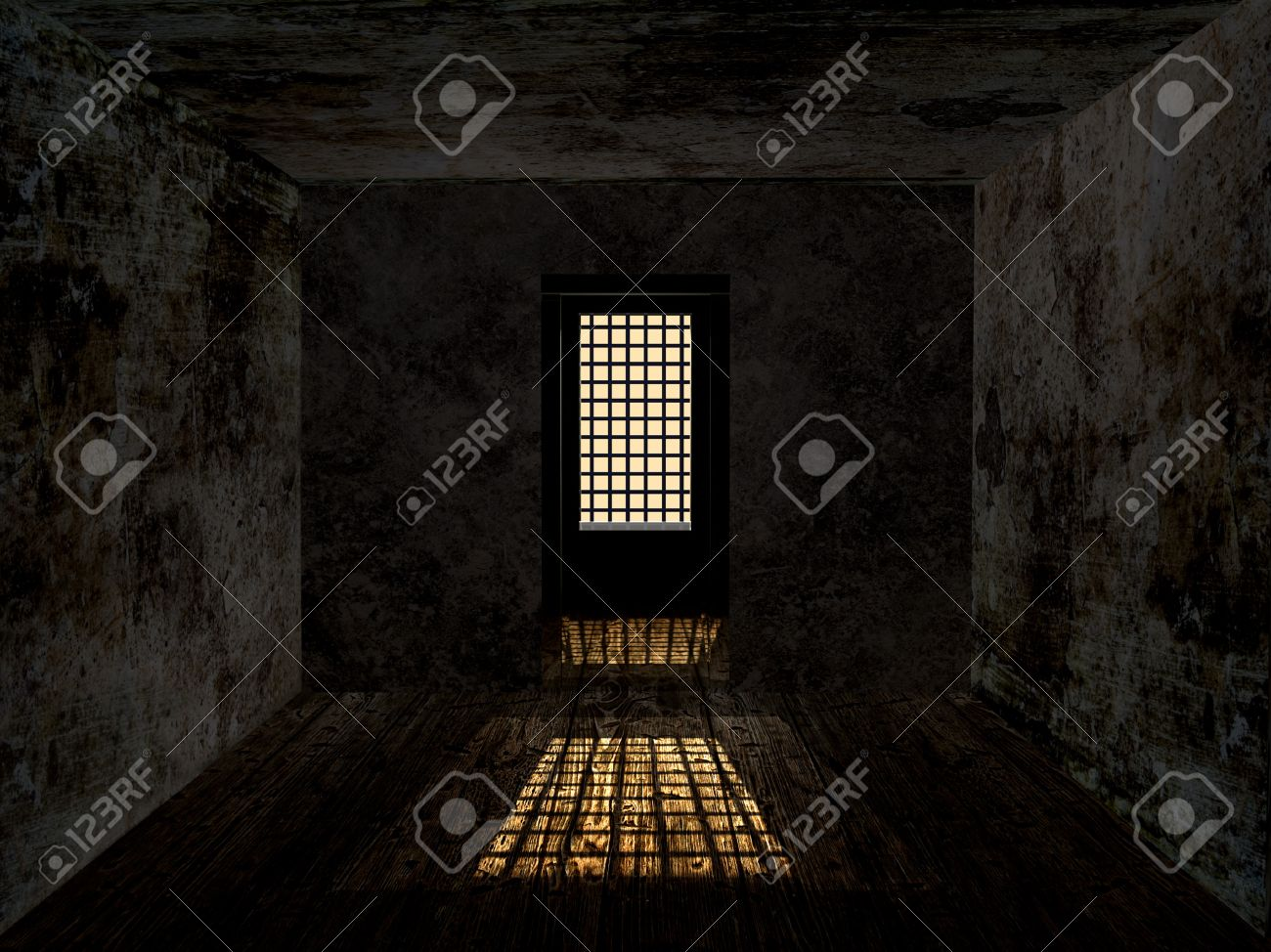 Gloomy dungeon with dirty rusty wall and guarded window. - 23112636