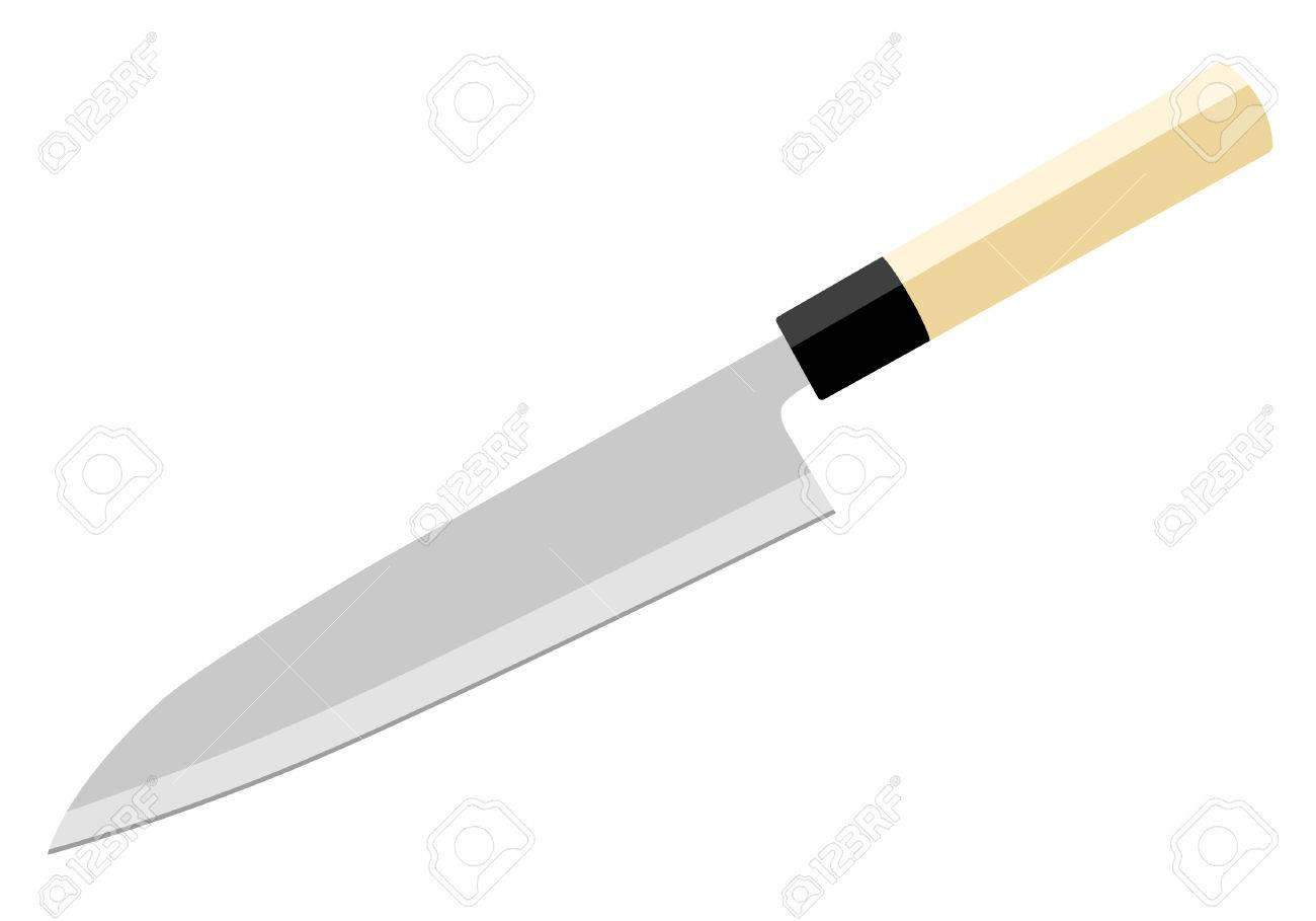 Kitchen Knife Vector japanese chef's knife (gyuto). vector illustration. royalty free