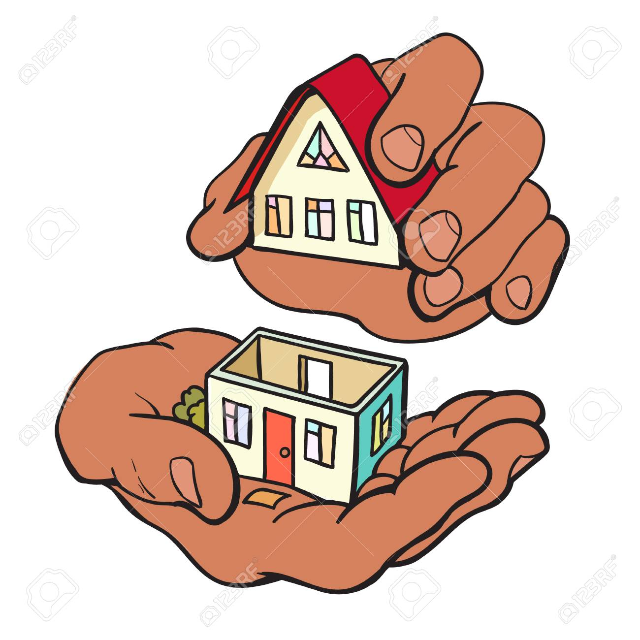 Hands are building a small house symbol of construction royalty hands are building a small house symbol of construction stock vector 81127840 buycottarizona Image collections