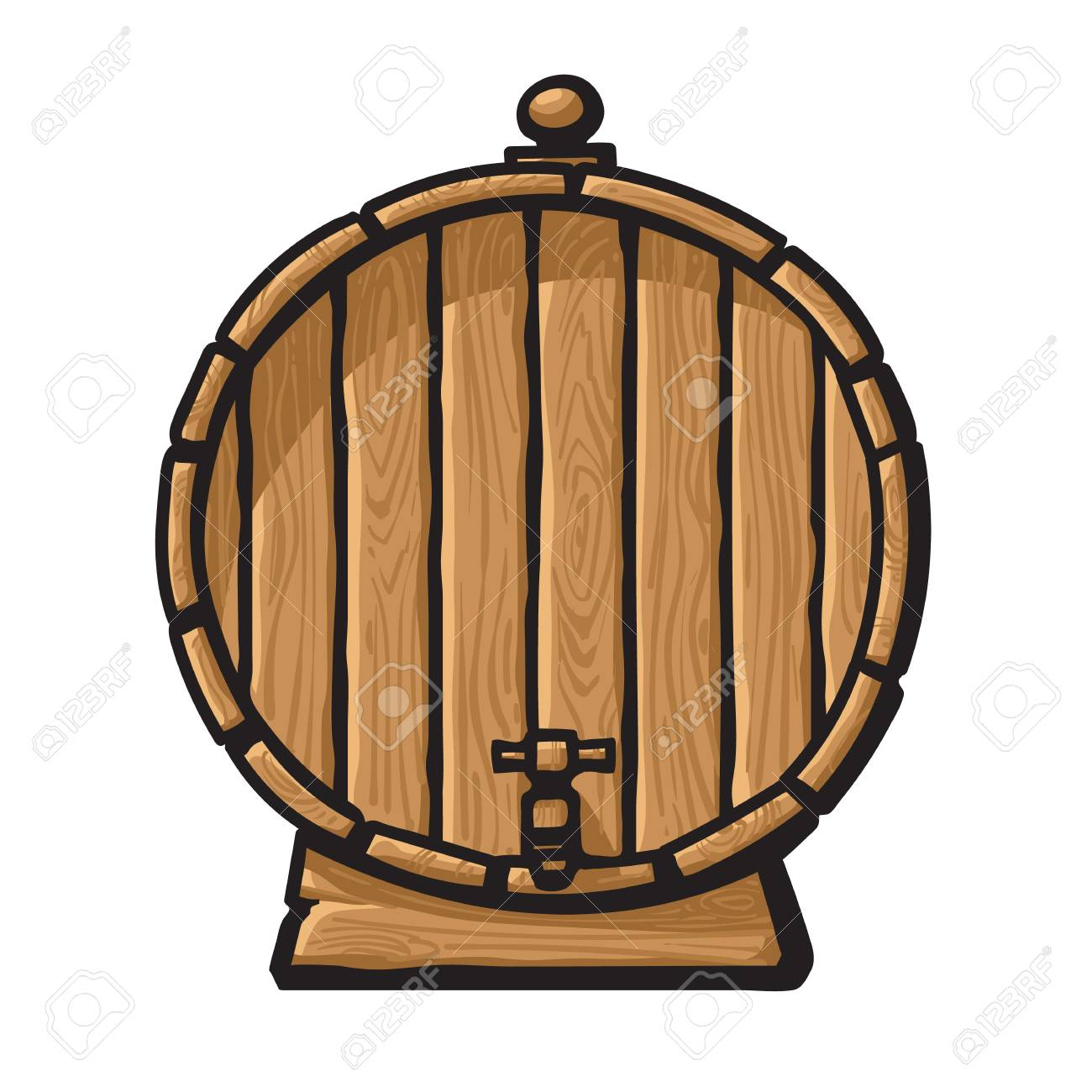 Cartoon Old Wooden Barrel With Tap Hand Drawn Vector Illustration Royalty Free Cliparts Vectors And Stock Illustration Image 127669889