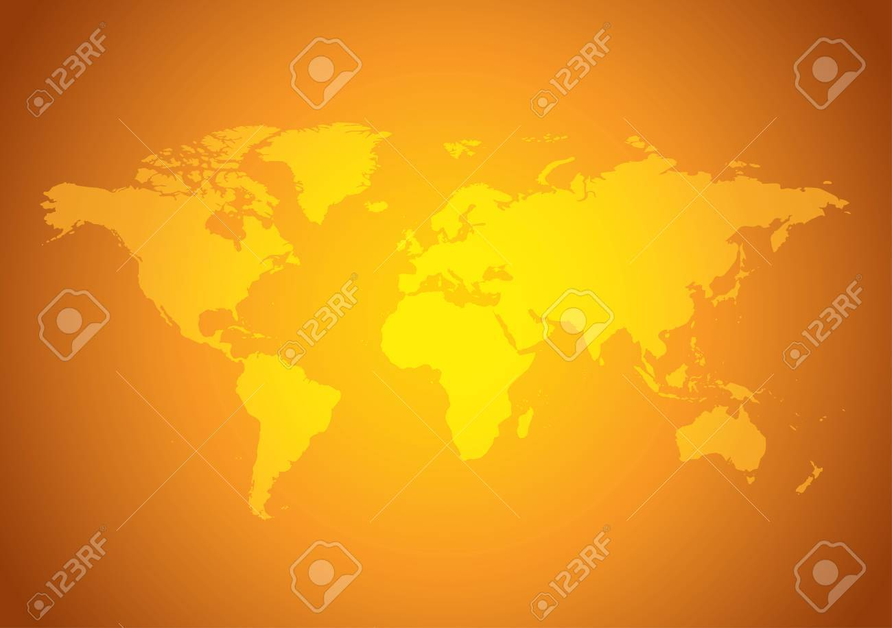 bright orange background with yellow map of the world vector