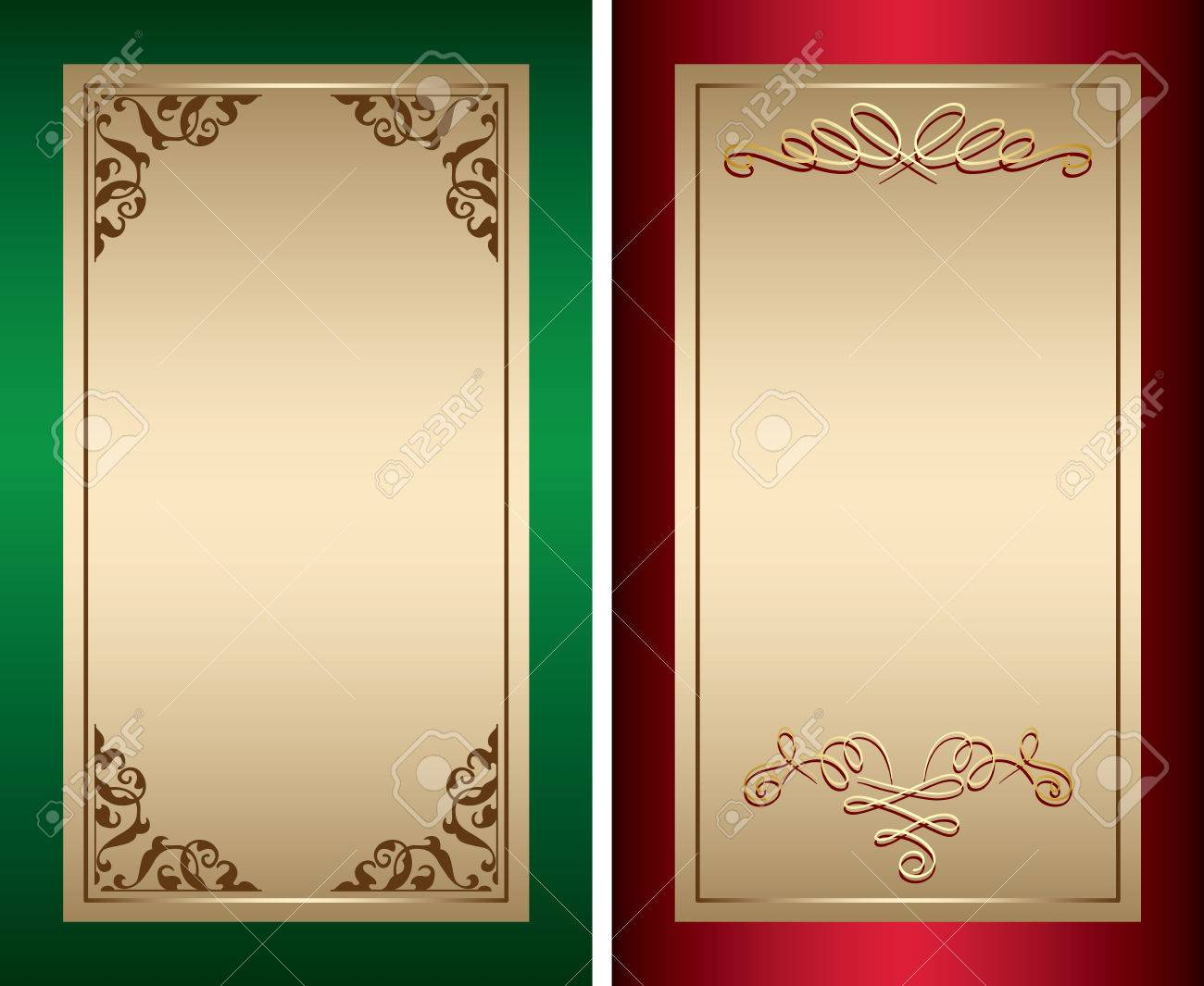 Red And Green Vintage Backgrounds With Gold Decorations